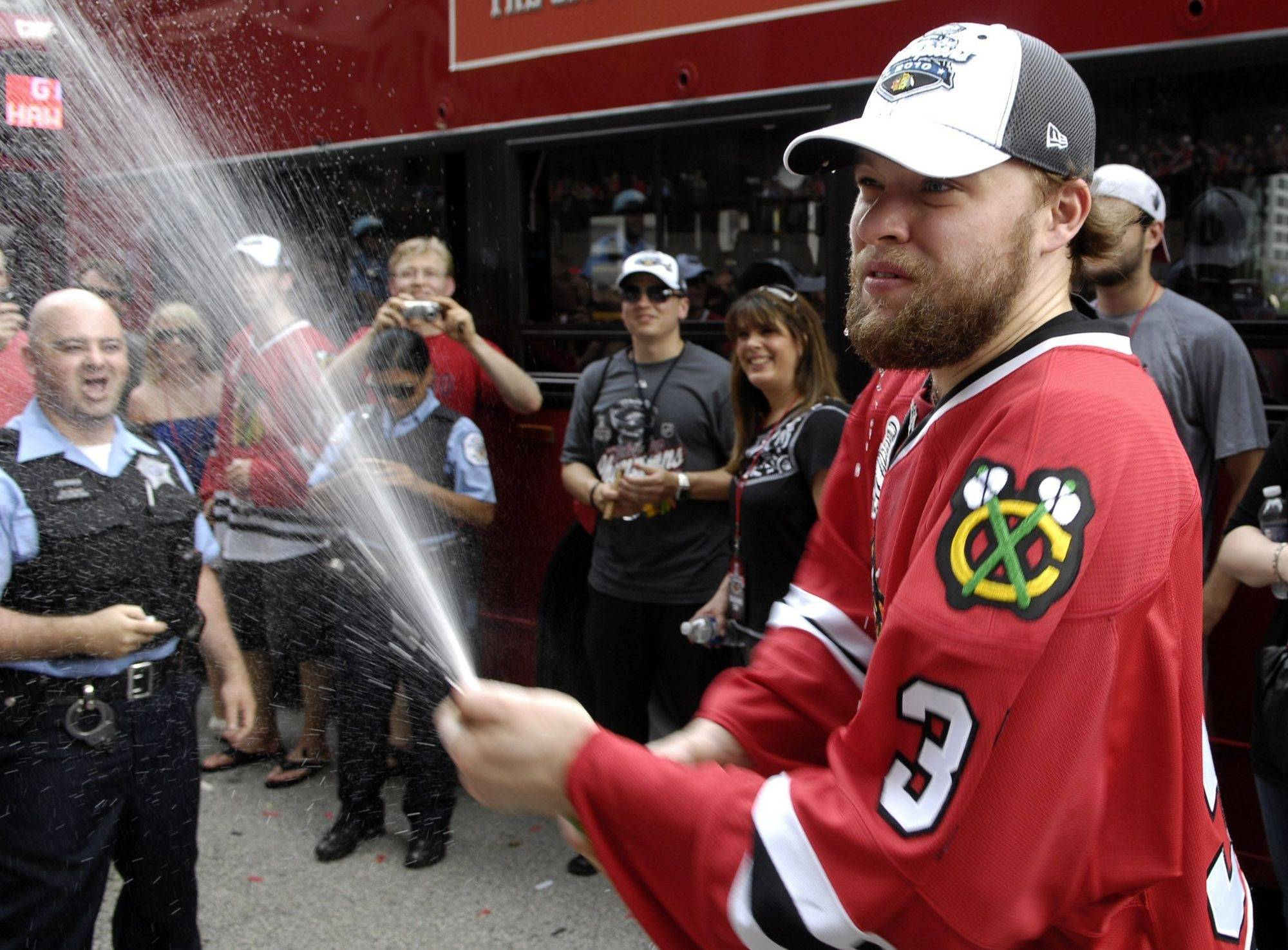 Chicago Blackhawks' goalie Antti Niemi at the victory parade.
