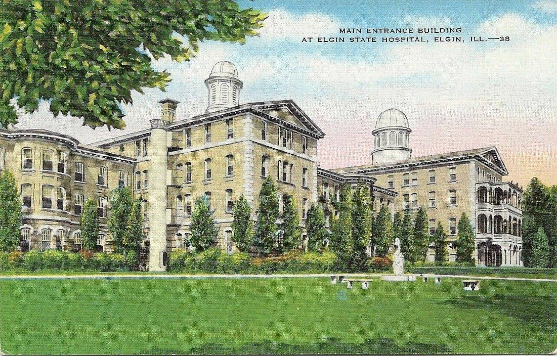 The growing population at the Elgin State Hospital, now the Elgin Mental Health Center, a century ago prompted officials to consider relocating some patients to area farms for treatment. The administration building at the time has since been demolished.