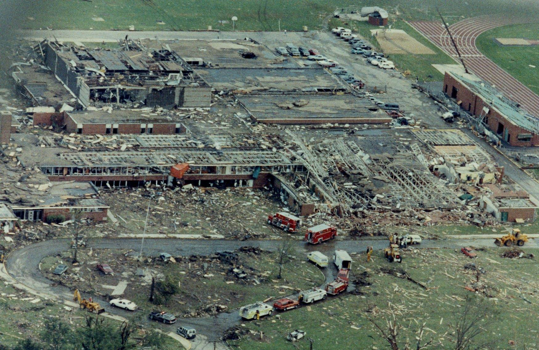 The August 28, 1990 tornado destroyed Plainfield High School.