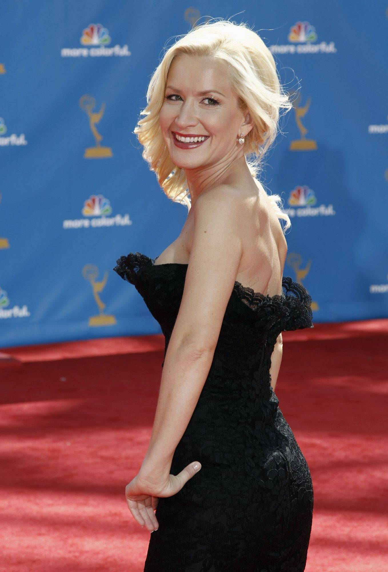 "Angela Kinsey (""The Office"") arrives for the 62nd Emmy Awards on Sunday in Los Angeles."