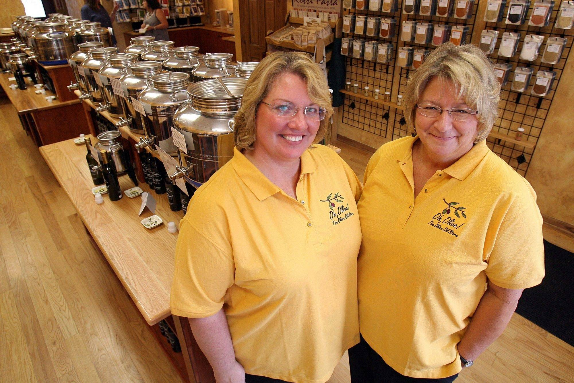Mary Koval and Sandy Schuenemann are the co-owners of a new olive oil store called Oh Olive in downtown Libertyville. The store features seasoned olive oil and other gourmet foods.