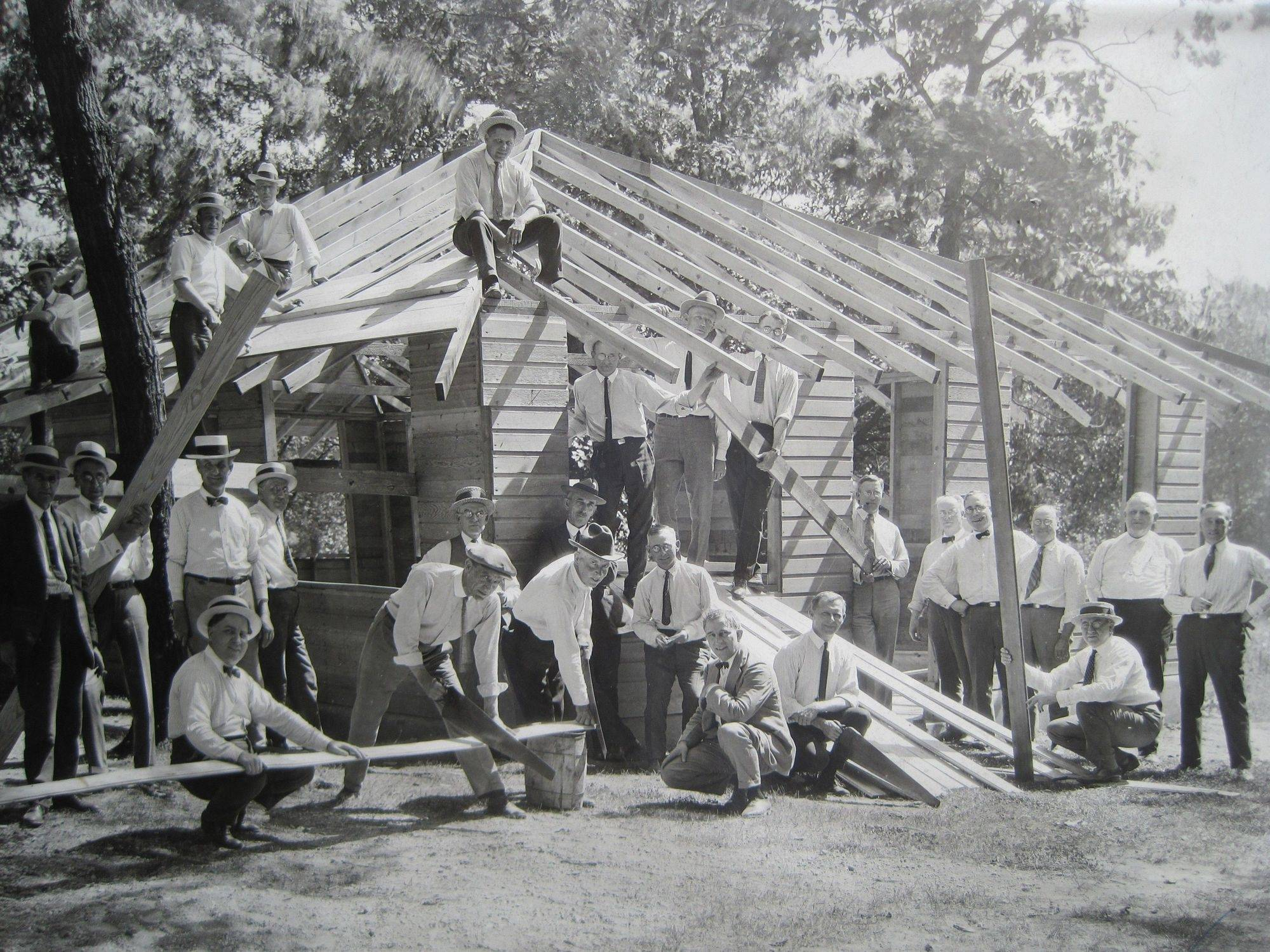 Elgin Kiwanis members help build the lodge at the Y.W.C.A.'s Camp Tu-Endie-Wei, now Brewster Creek Forest Preserve, in 1941.
