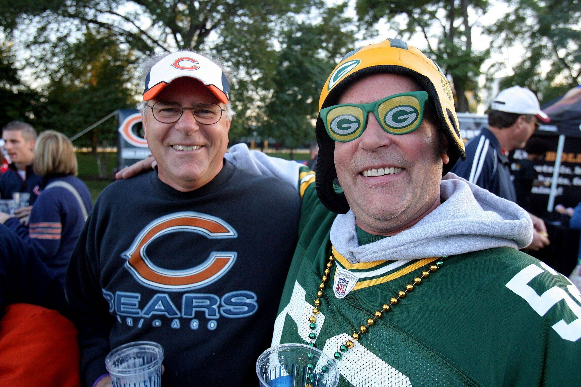 Brothers Bruce Lenth of Scottsdale, Arizona and Bill Lenth of Schaumburg show where their loyalties lie prior to the Bears Packers game Monday night at Soldier Field in Chicago.