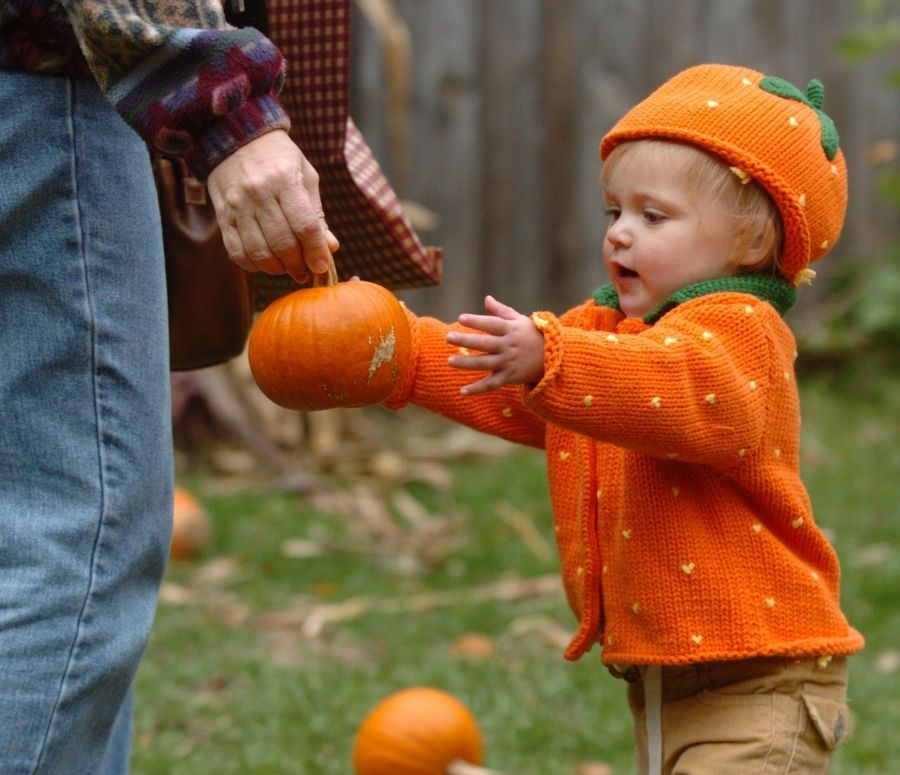 A young visitor shows her true fall colors while picking out a pumpkin that's just her size at Blackberry Farm during Pumpkin Weekends, which return Saturday, Oct. 2 and will be held every weekend throughout October.