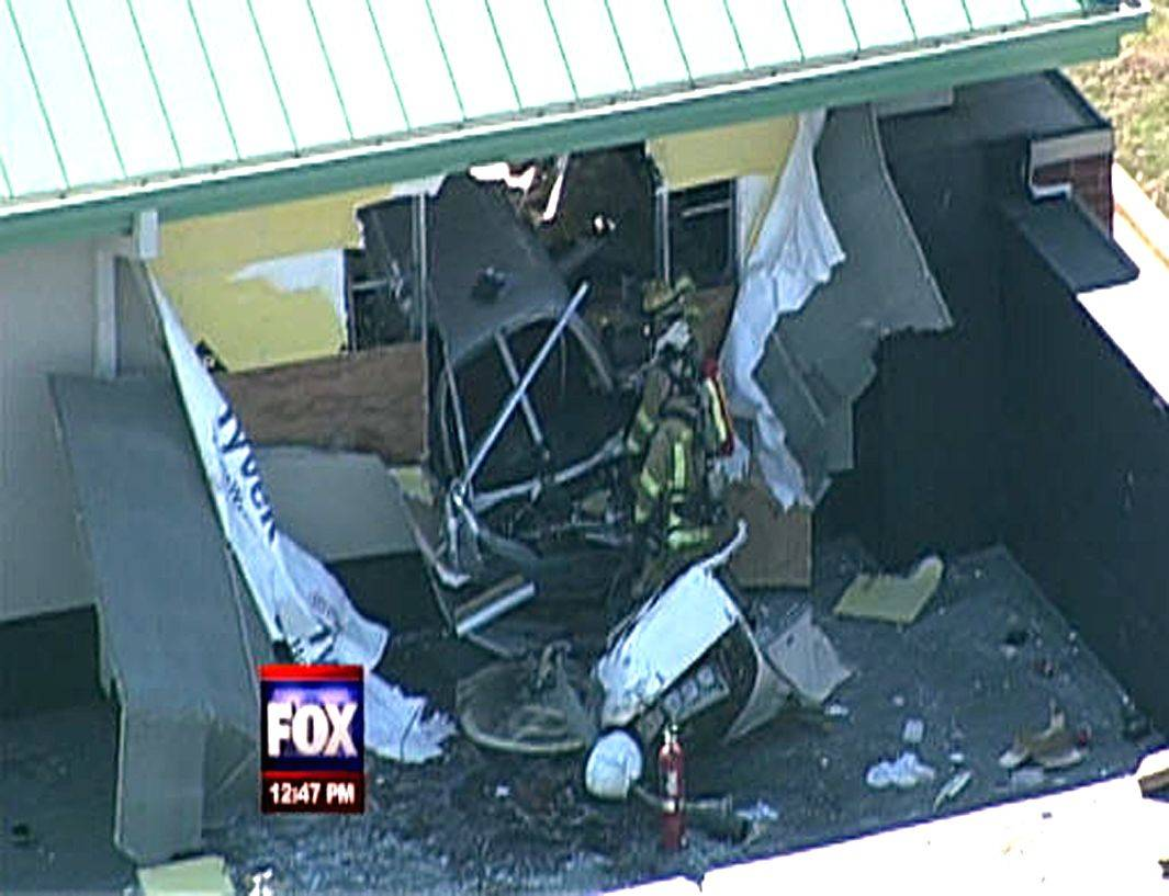 An aerial view of the plane that crashed Wednesday into the XSport Fitness facility in Naperville.