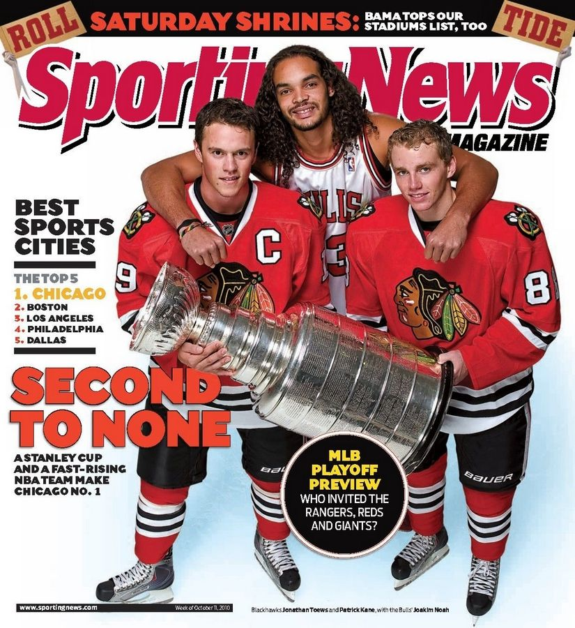 Courtesy Sporting News Magazine The new cover of Sporting News magazine features three popular sports figures in Chicago: Jonathan Toews, Joakim Noah and Patrick Kane.