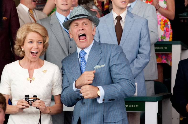 "Penny Chenery (Diane Lane) and Lucien Laurin (John Malkovich) cheer for their favorite racer in the under-horse sports drama ""Secretariat."