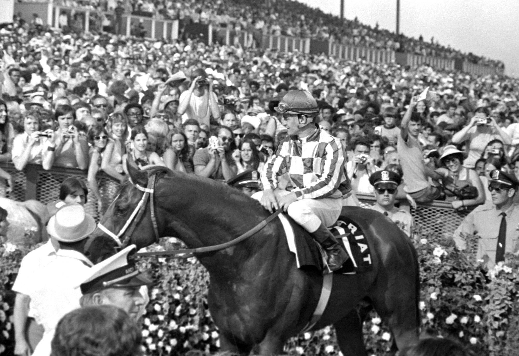 More than 41,000 fans were on hand at Arlington Park to great the legendary racehorse Secretariat. The Triple Crown winner raced in the Arlington Invitational on June 30, 1973.