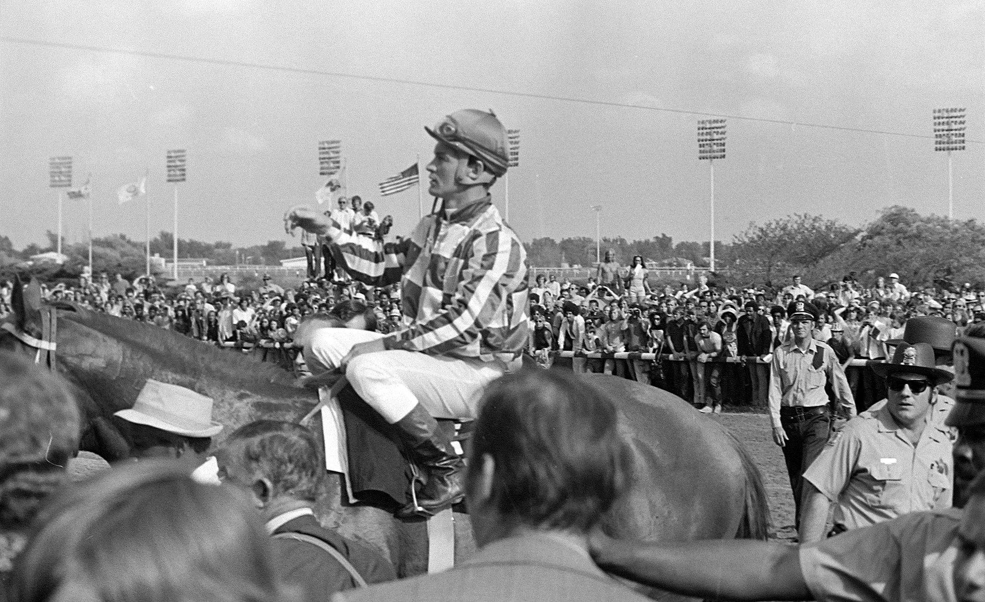 With jockey Ron Turcotte aboard, super horse Secretariat won easily in his Arlington Invitational race on June 30, 1973. It was Secretariat's first race after winning the Belmont and capturing the Triple Crown.