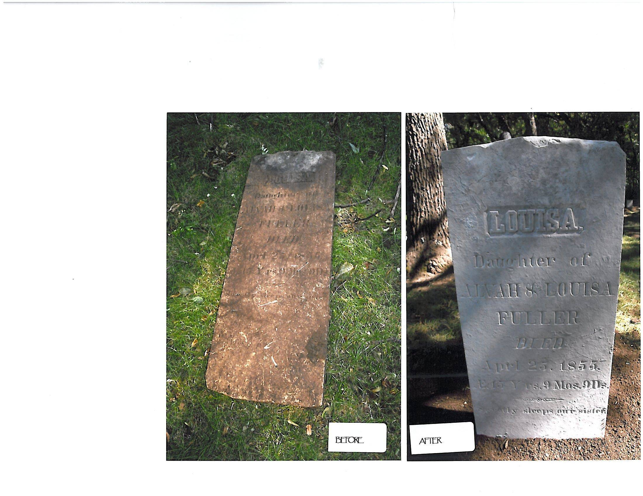 These are before and after pictures of rehabilitated grave markers at cemeteries in Palatine Township.