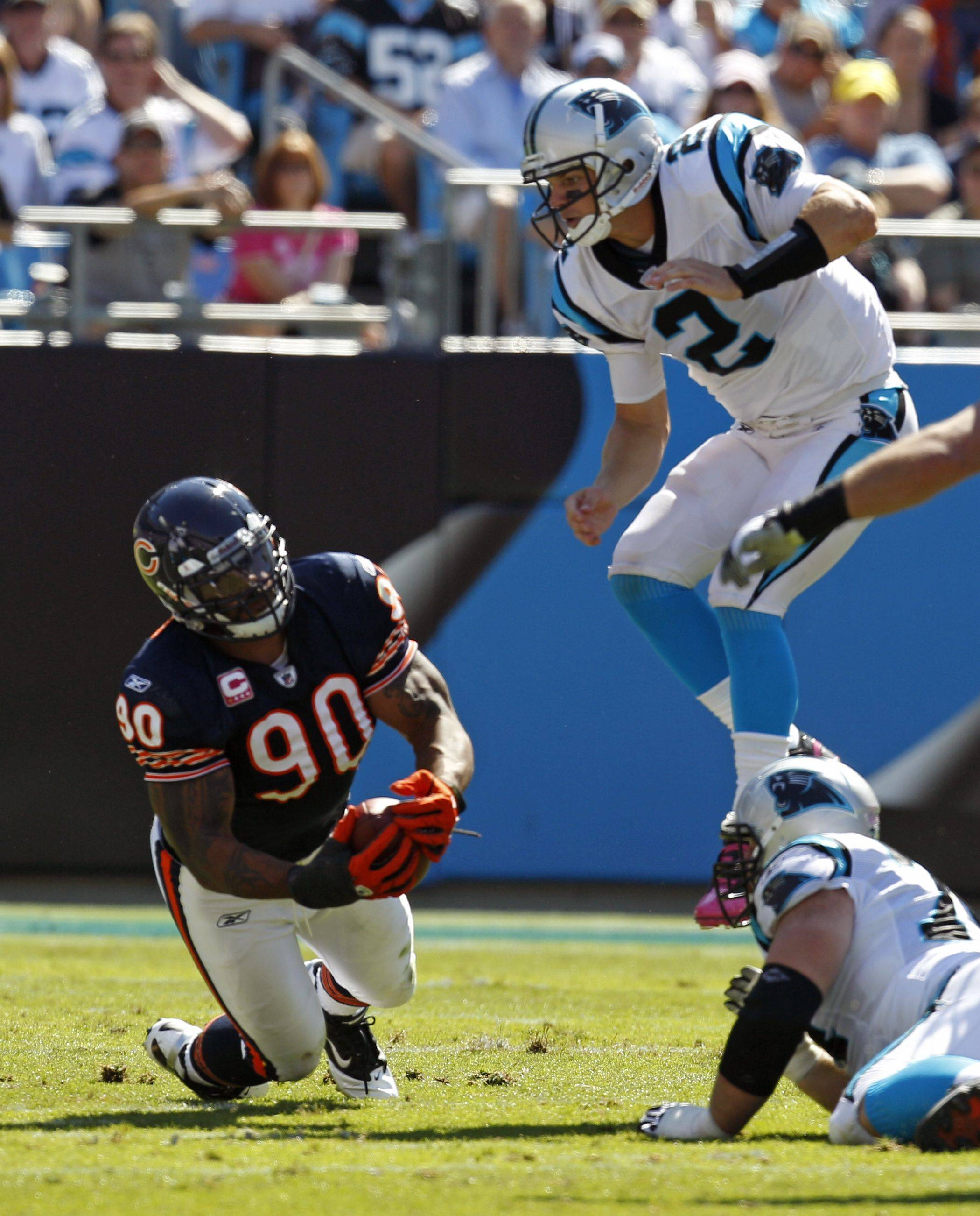 Julius Peppers catches a tipped pass from Carolina Panthers' Jimmy Clausen for an interception in the first half.