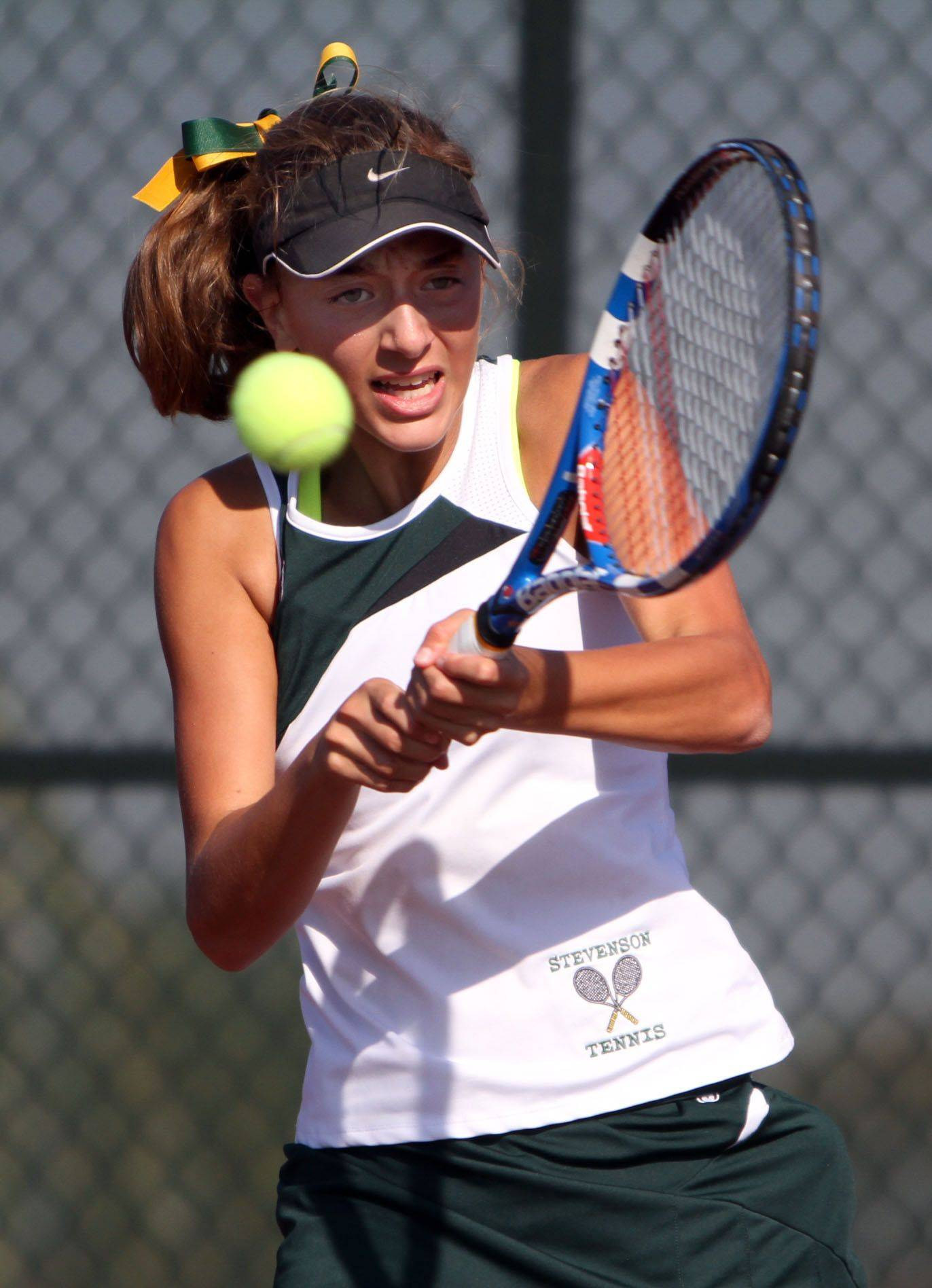 Stevenson's Alexxis Kiven during the North Suburban Conference girls tennis meet in Vernon Hills Saturday.