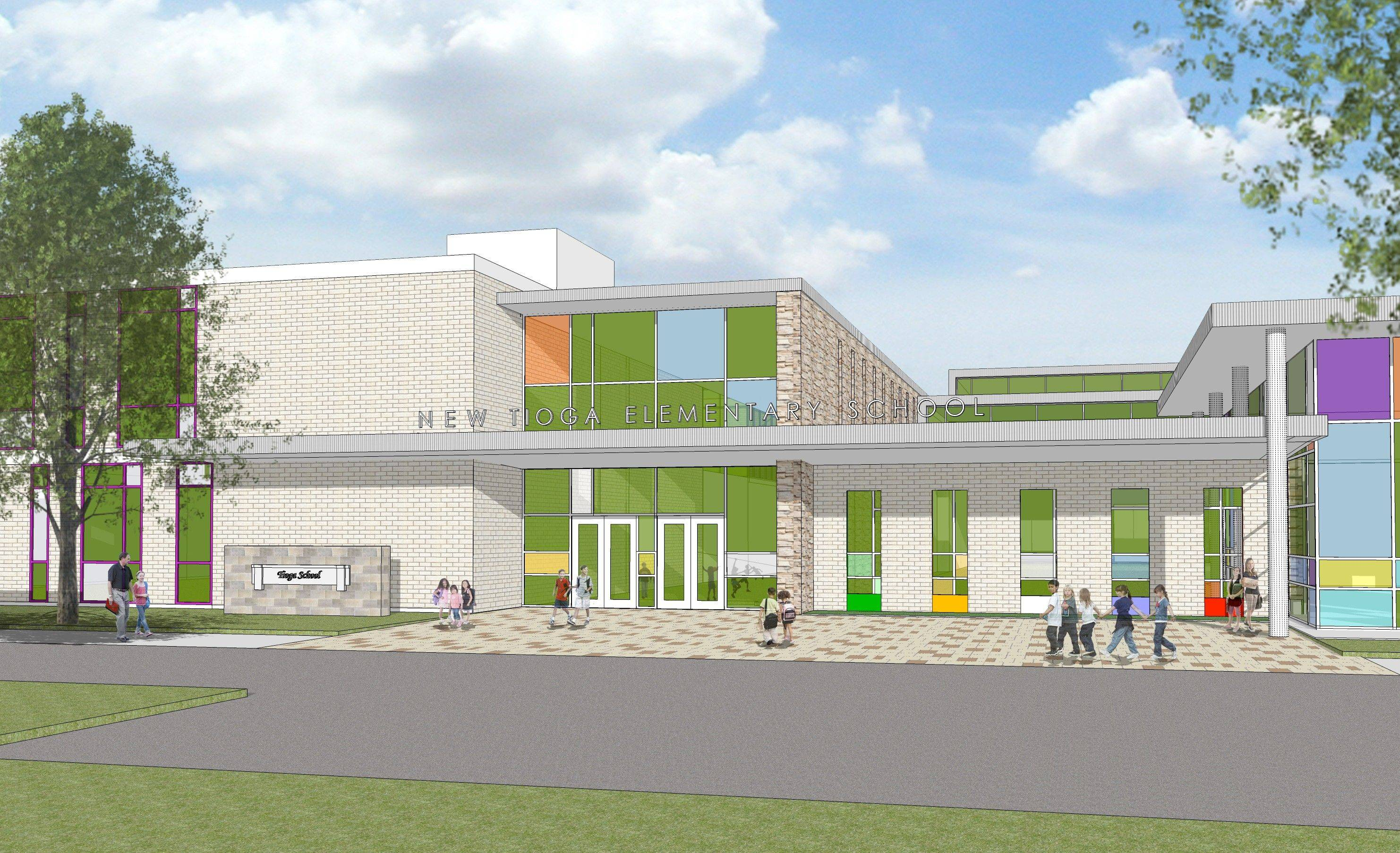 Artists rendering by STR Partners The Bensenville Elementary District 2 school board chose this as the new exterior for Tioga School, which will undergo a $17 million expansion over the next five years.