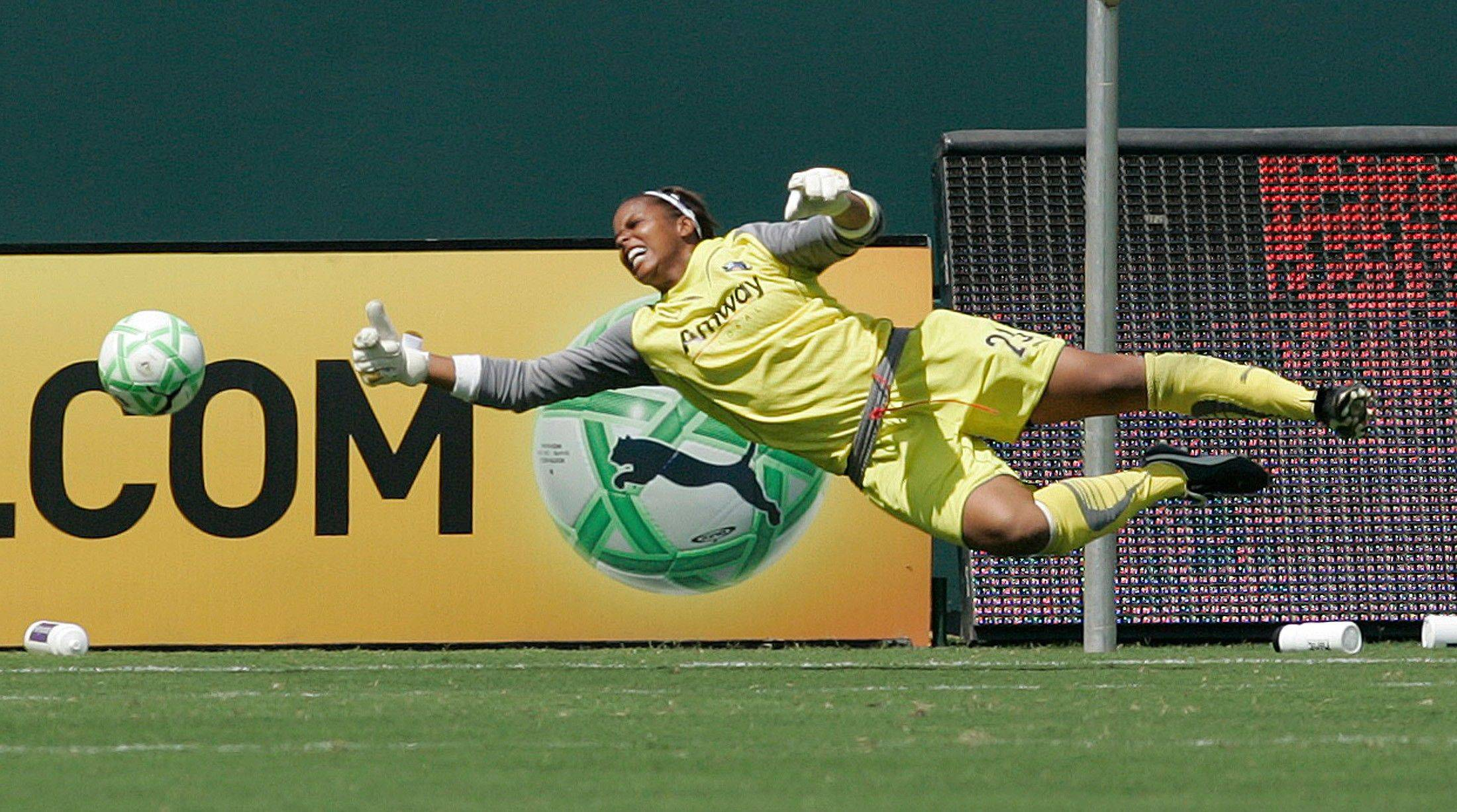 Associated Press file/2009Goalie Karina LeBlanc, then with the Los Angeles Sol, dives for the ball in the 2009 WPS Championship soccer game at the Home Depot Center. LeBlanc, the Canadian National Team goalier who played for the Philadelphia Independence of the WPS this past season, was acquired Tuesday by the Chicago Red Stars via trade.