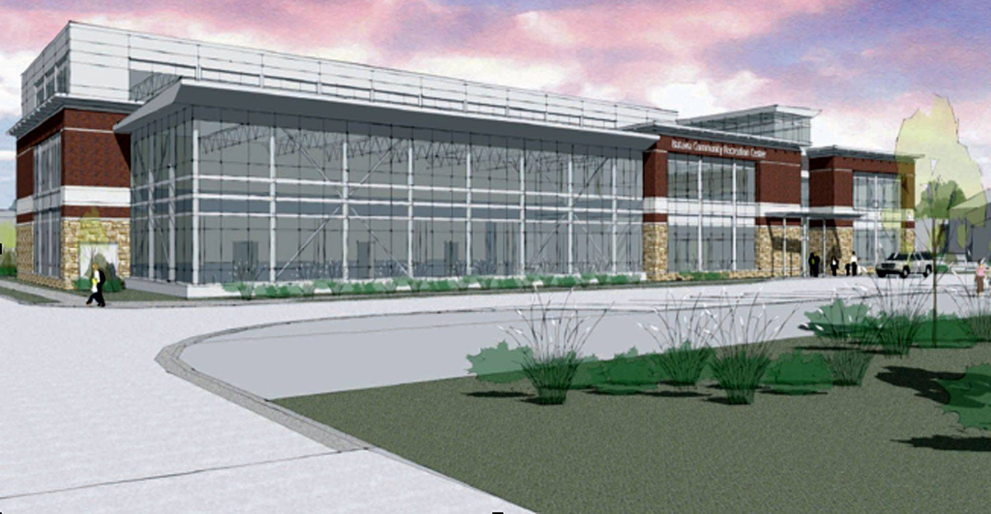 This is an artist's rendering of the proposed recreation center in downtown Batavia. The glass-enclosed area is where a swimming pool would be, at the southwest corner of Houston Street and Island Avenue.