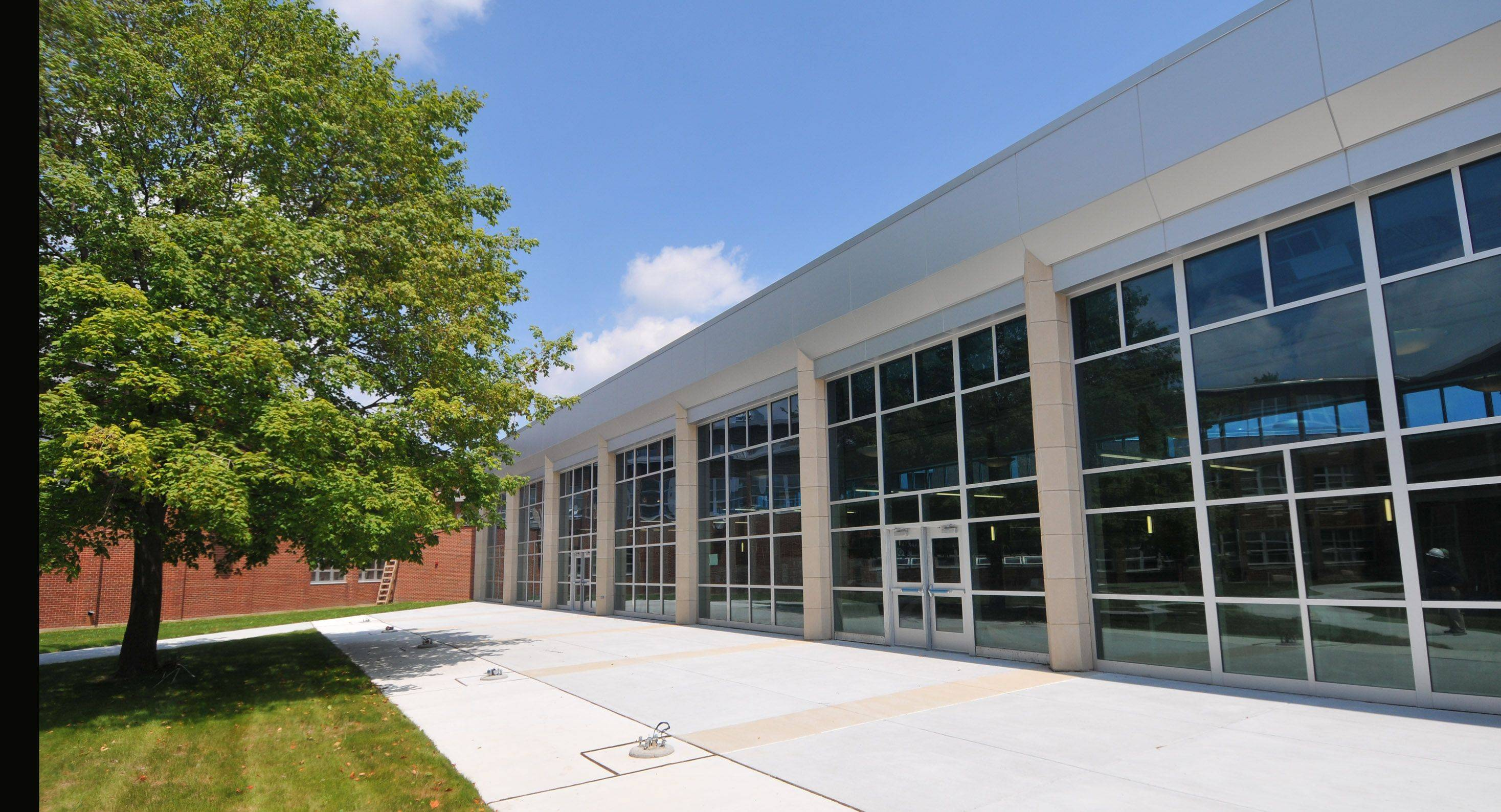 During guided tours and a dedication ceremony Sunday, visitors can see changes like this new courtyard at Addison Trail High School.