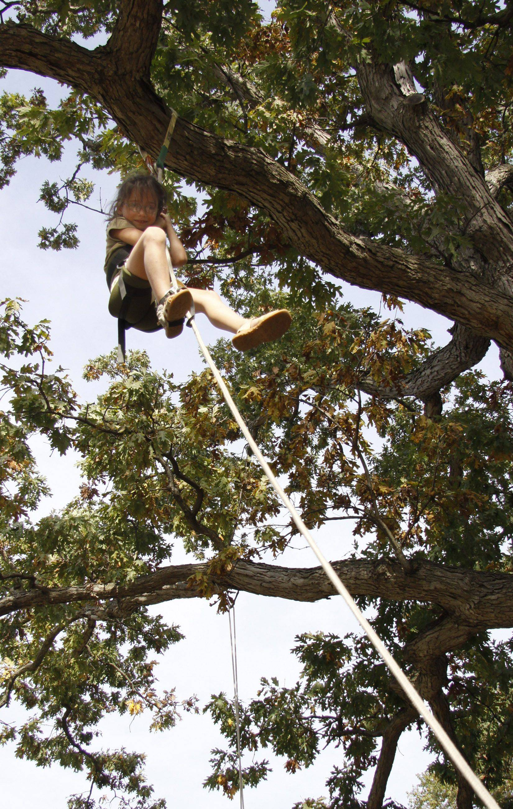 Jolina Mueller, 7, of Woodridge looks down after getting to the top of the tree with a rope and pulley system. Forest Preserve botanists were on hand showing the children how they get to the tops of trees by giving them a first-hand experience.