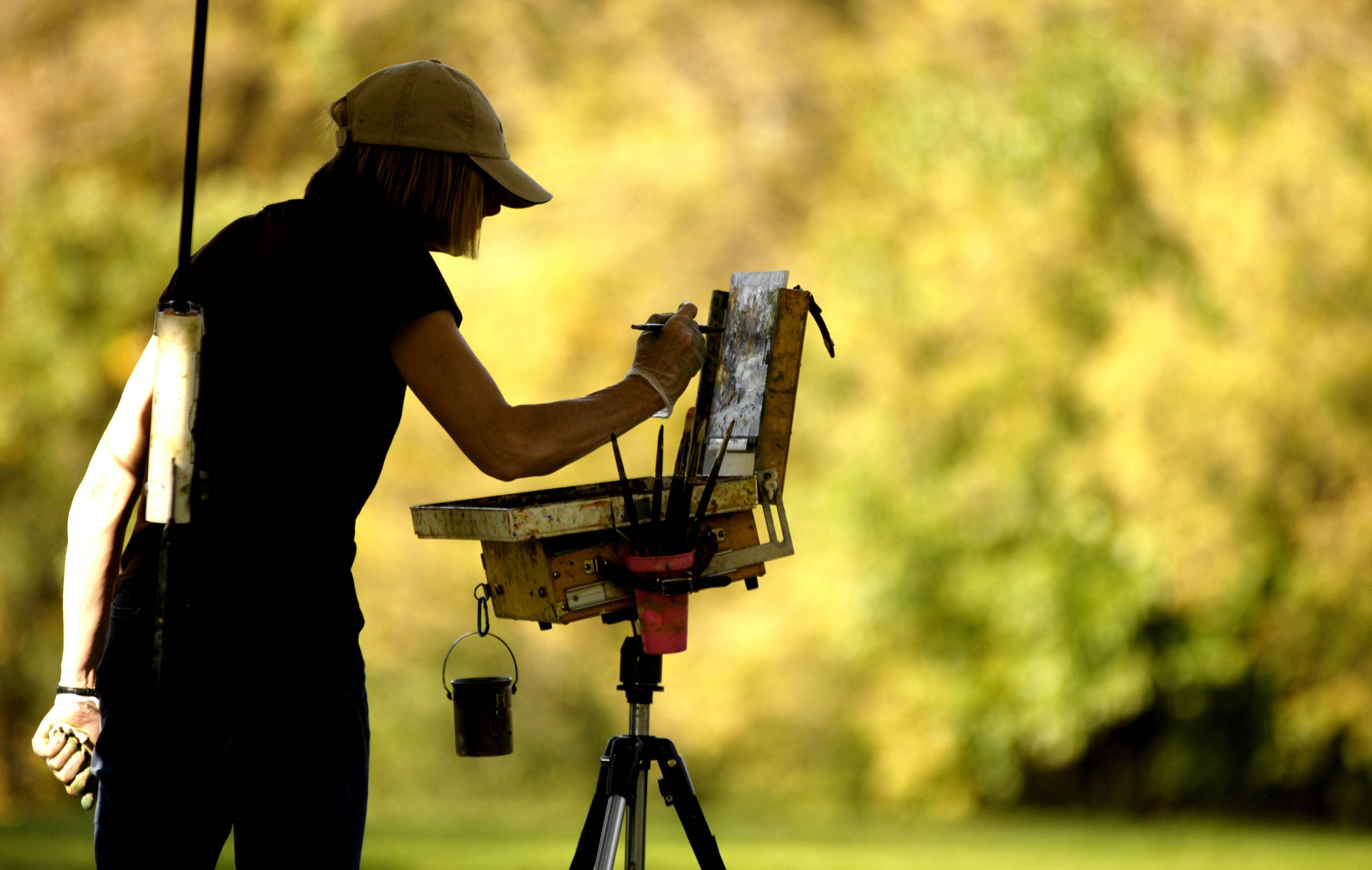 Anne Kauff of Arlington Heights is silhouetted against the colorful foliage as she paints a fall scene at Busse Woods in Elk Grove.