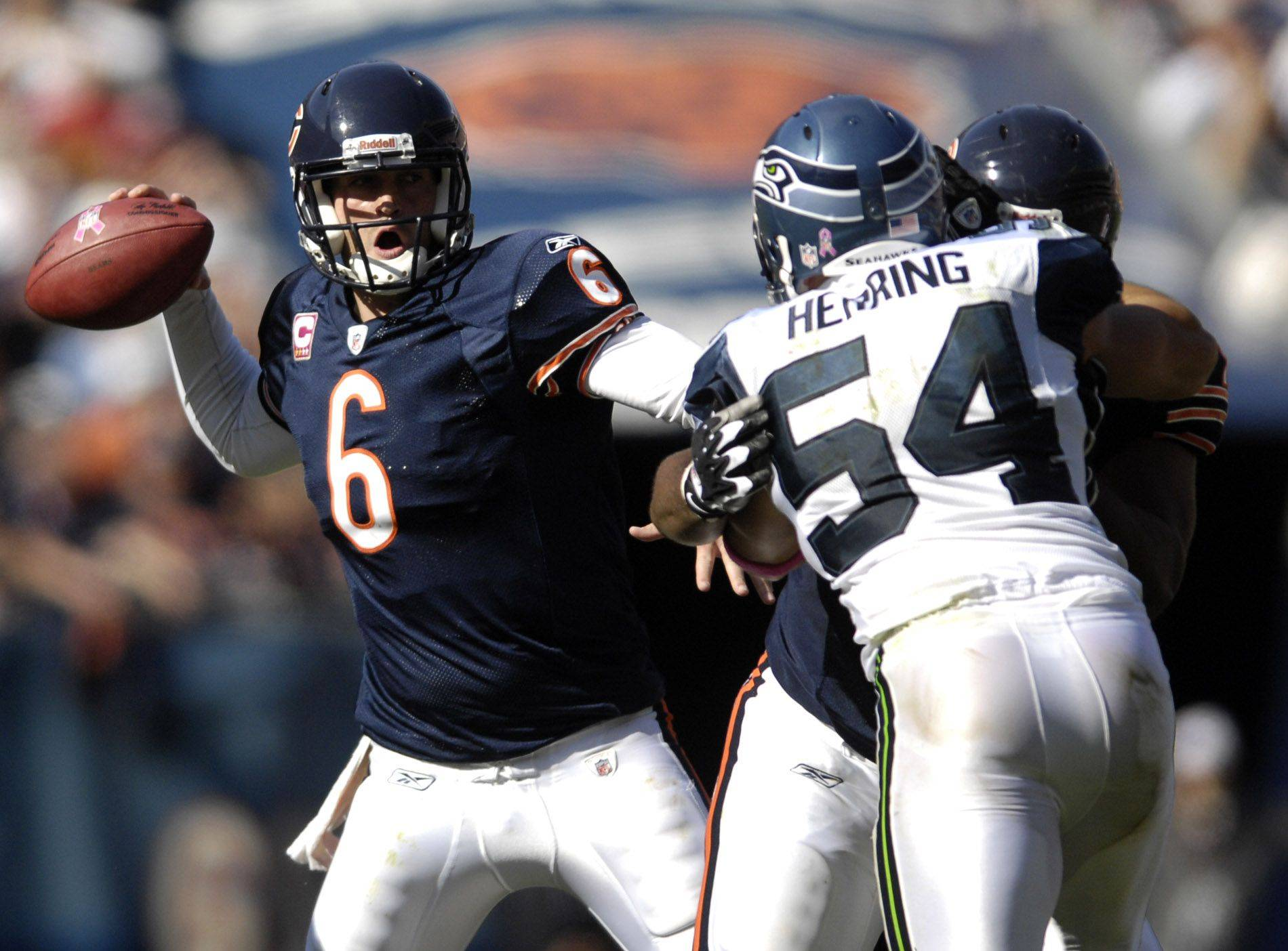 Chicago Bears quarterback Jay Cutler rears back to pass.