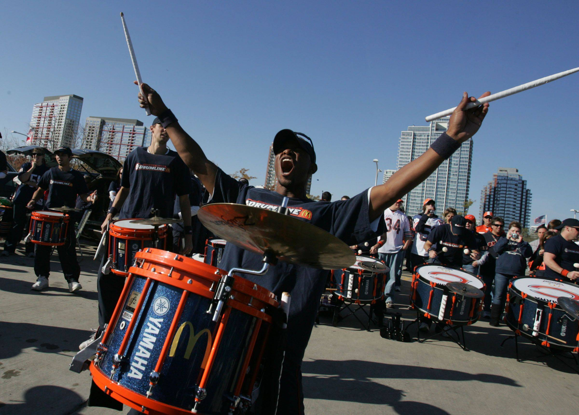 Chicago Bears' Drum line fired up the crowd on the upper deck parking lot at Soldier Field before the game against Seattle Seahawks on Sunday, October 17.
