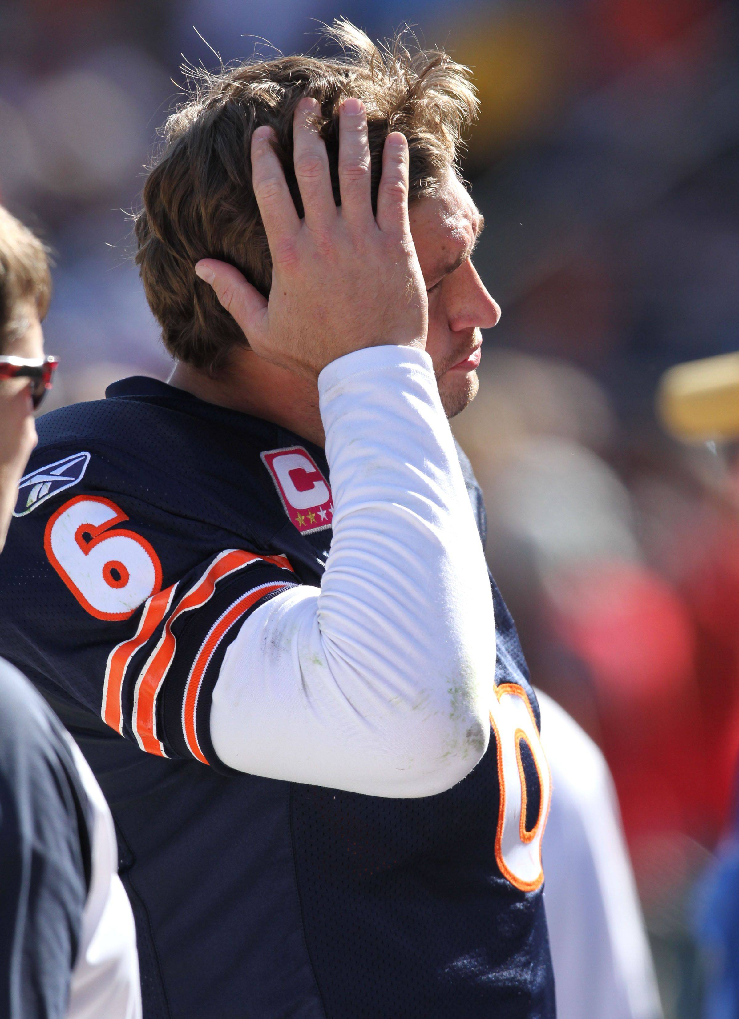 Chicago Bears' Chicago Bears quarterback Jay Cutler on side line after being sacked by Seattle Seahawks' safety Lawyer Milloy in the second half.