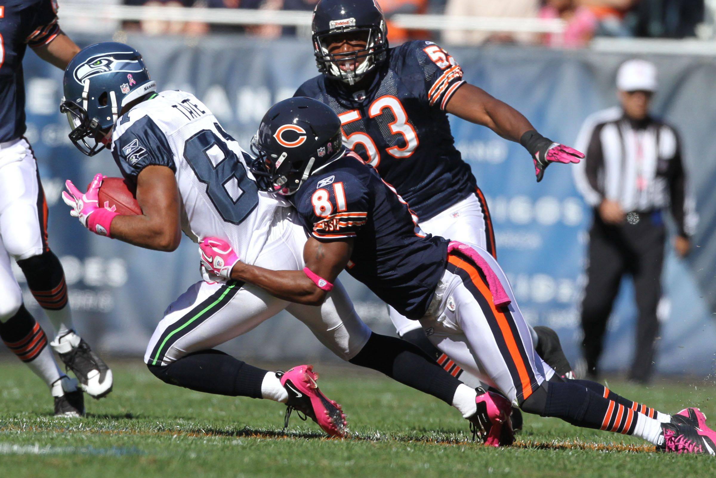 Chicago Bears' wide receiver Rashied Davis pulls down Seattle Seahawks' wide receiver Golden Tate at Soldier Field.