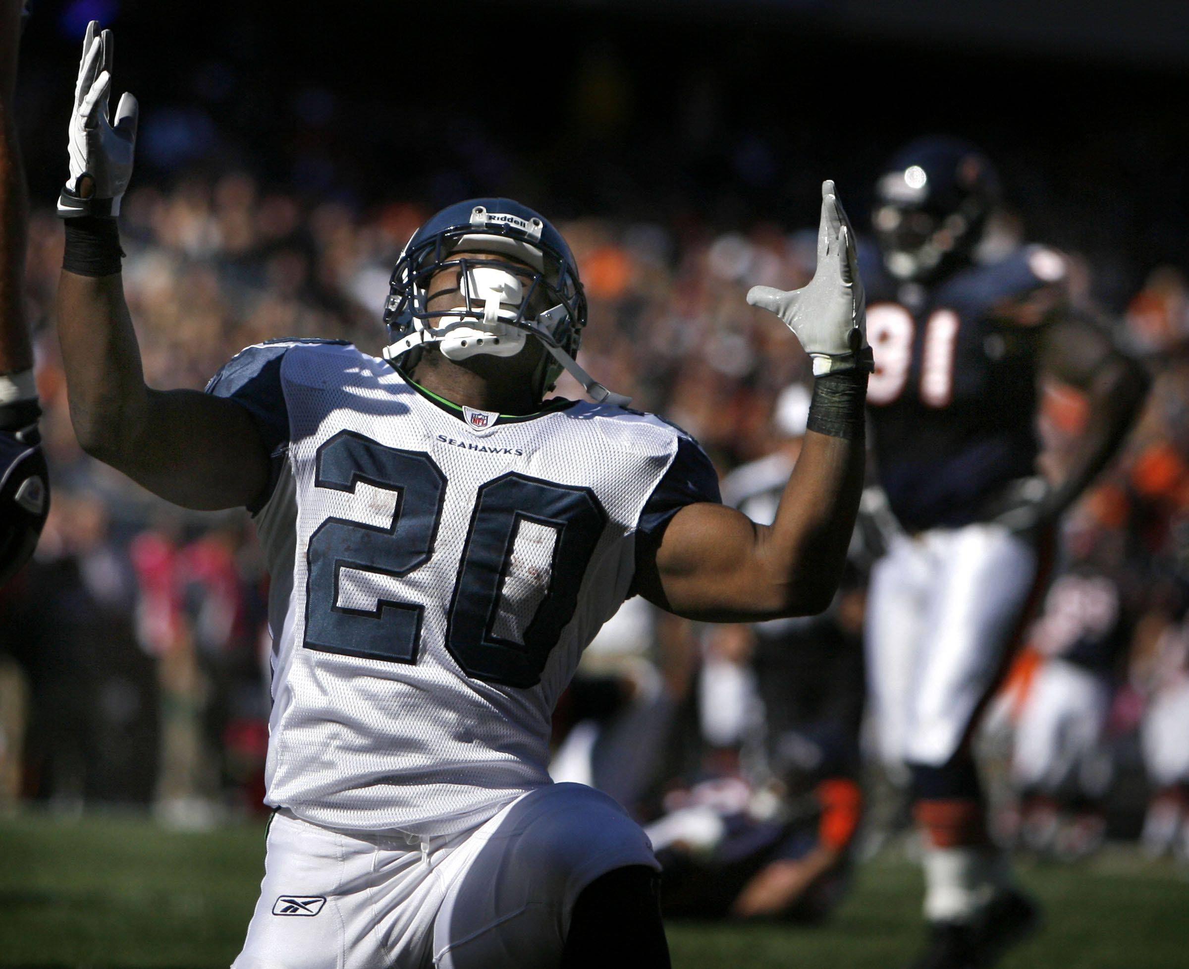 Seattle Seahawks' running back Justin Forsett celebrates a touchdown against the Chicago Bears at Soldier Field.