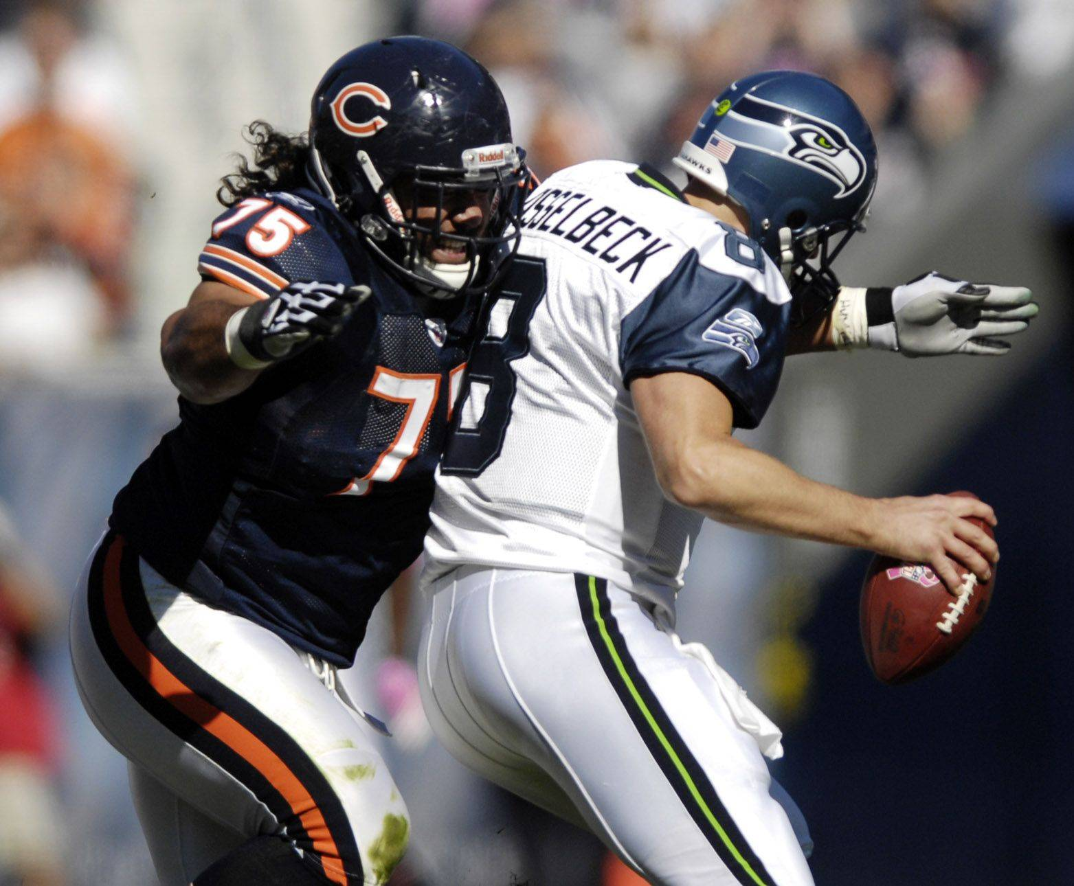 Chicago Bears defensive tackle Matt Toeaina forces Seattle Seahawks quarterback Matt Hasselbeck into an incomplete pass bringing up a 4th down.