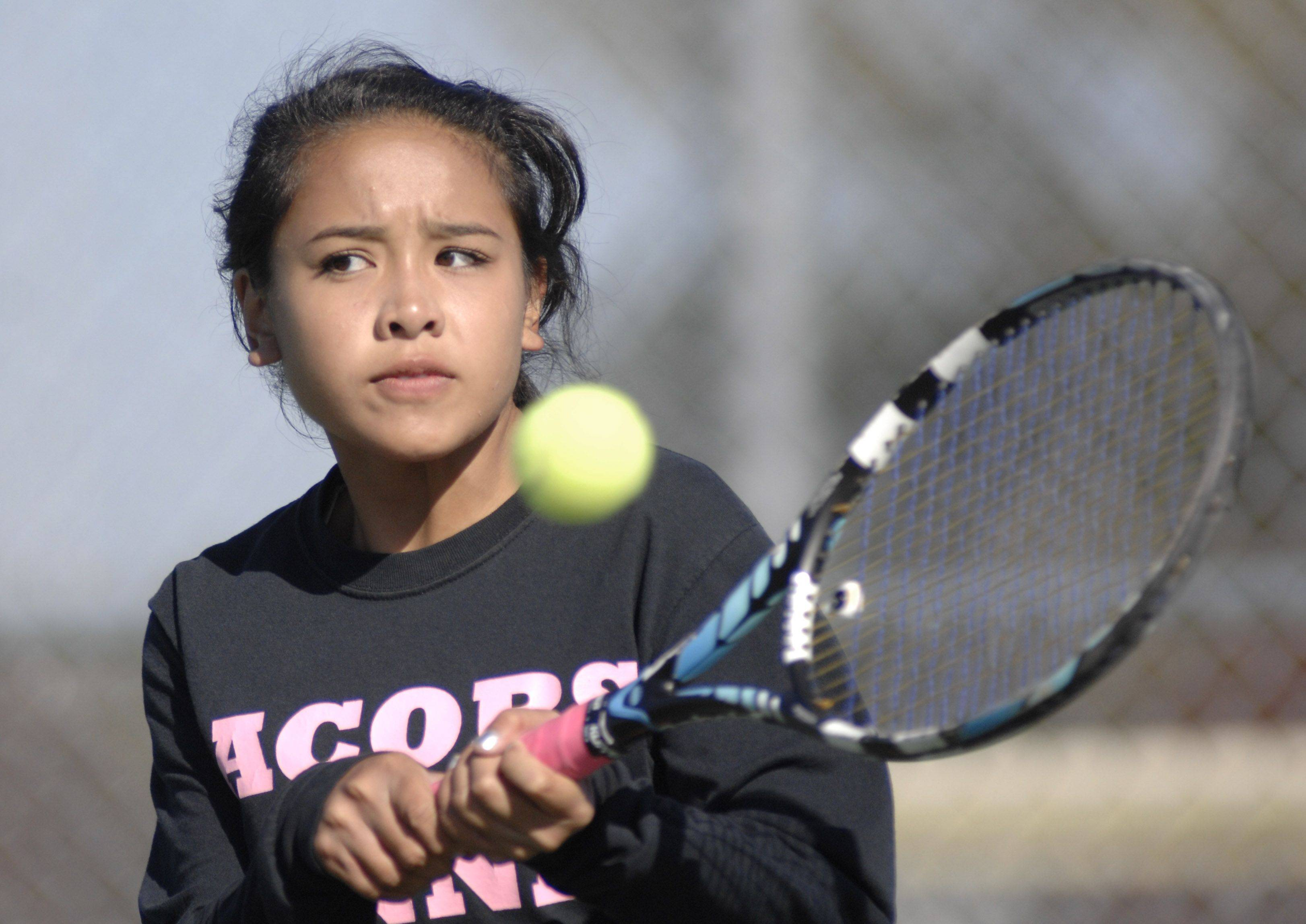 Jacobs? Kassy Bernardo in a semifinals match against Huntley in the sectional meet at Elgin High School on Saturday.