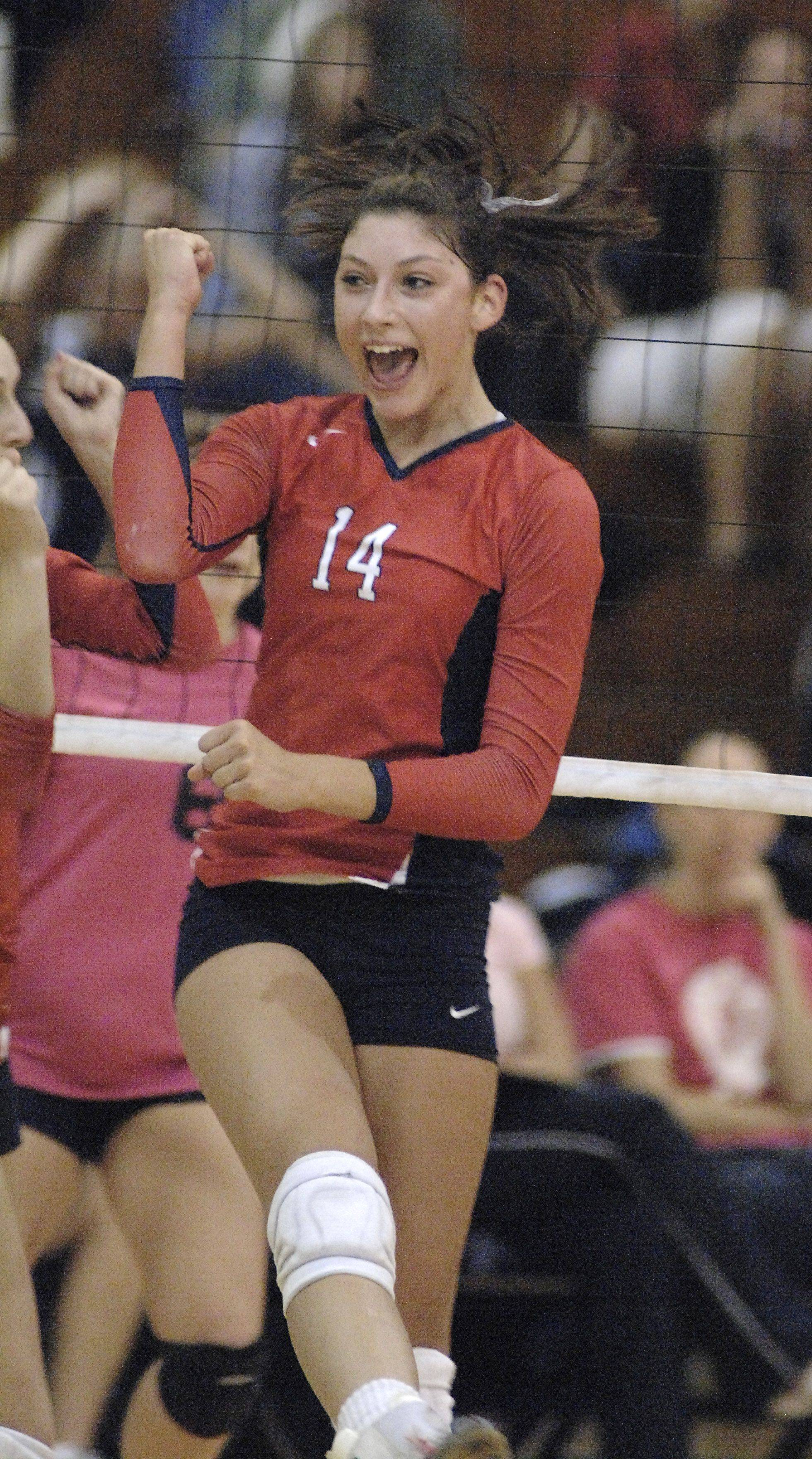 West Aurora?s Lauren Carlini celebrates a point Tuesday.