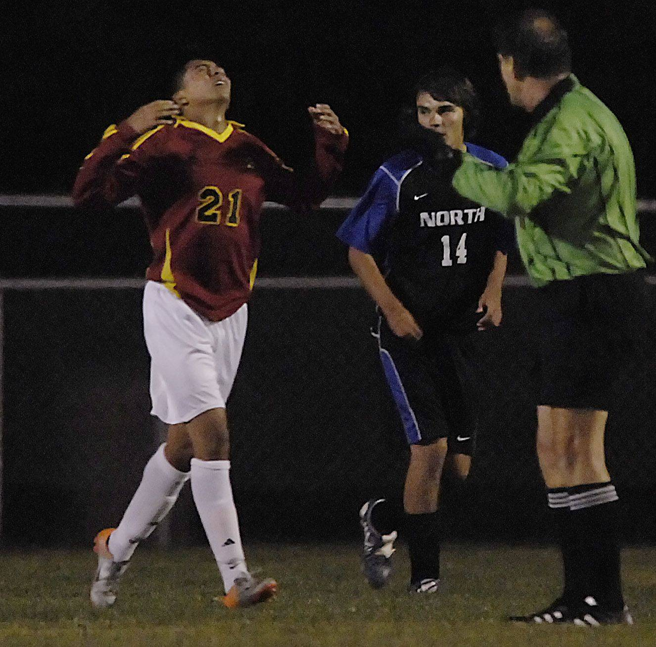 Batavia?s Erick Ontiveros reacts as his goal is called off because of a foul against St. Charles North Wednesday.
