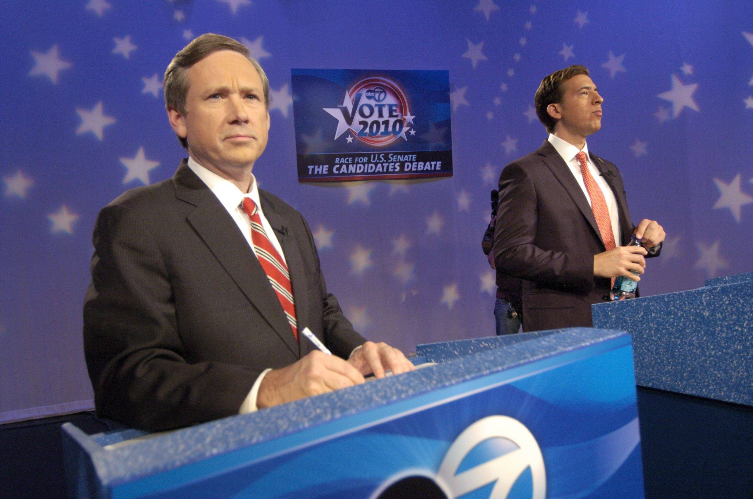 Republican Mark Kirk, left, and Democrat Alexi Giannoulias, candidates for the U.S. Senate, prepare for Tuesday evening's debate at the ABC 7 studio in Chicago.