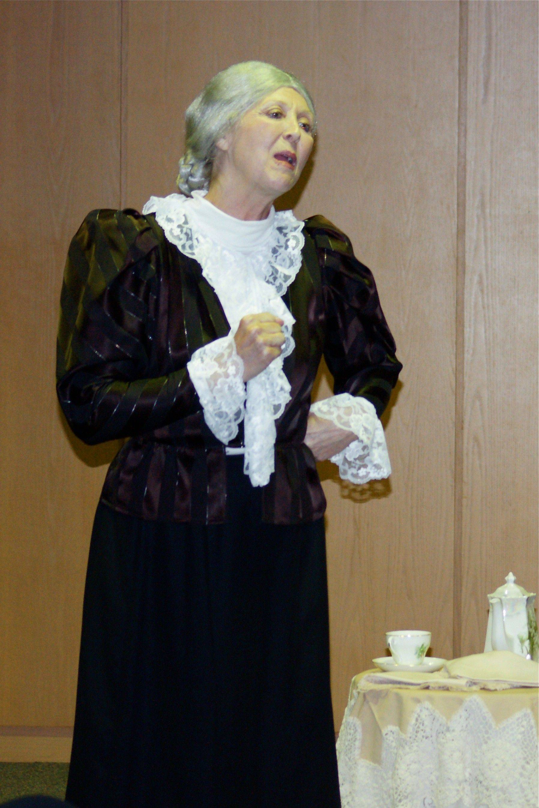 Former teacher Lynn Rymarz portrays Susan B. Anthony, the civil rights leader who helped women win the right to vote.