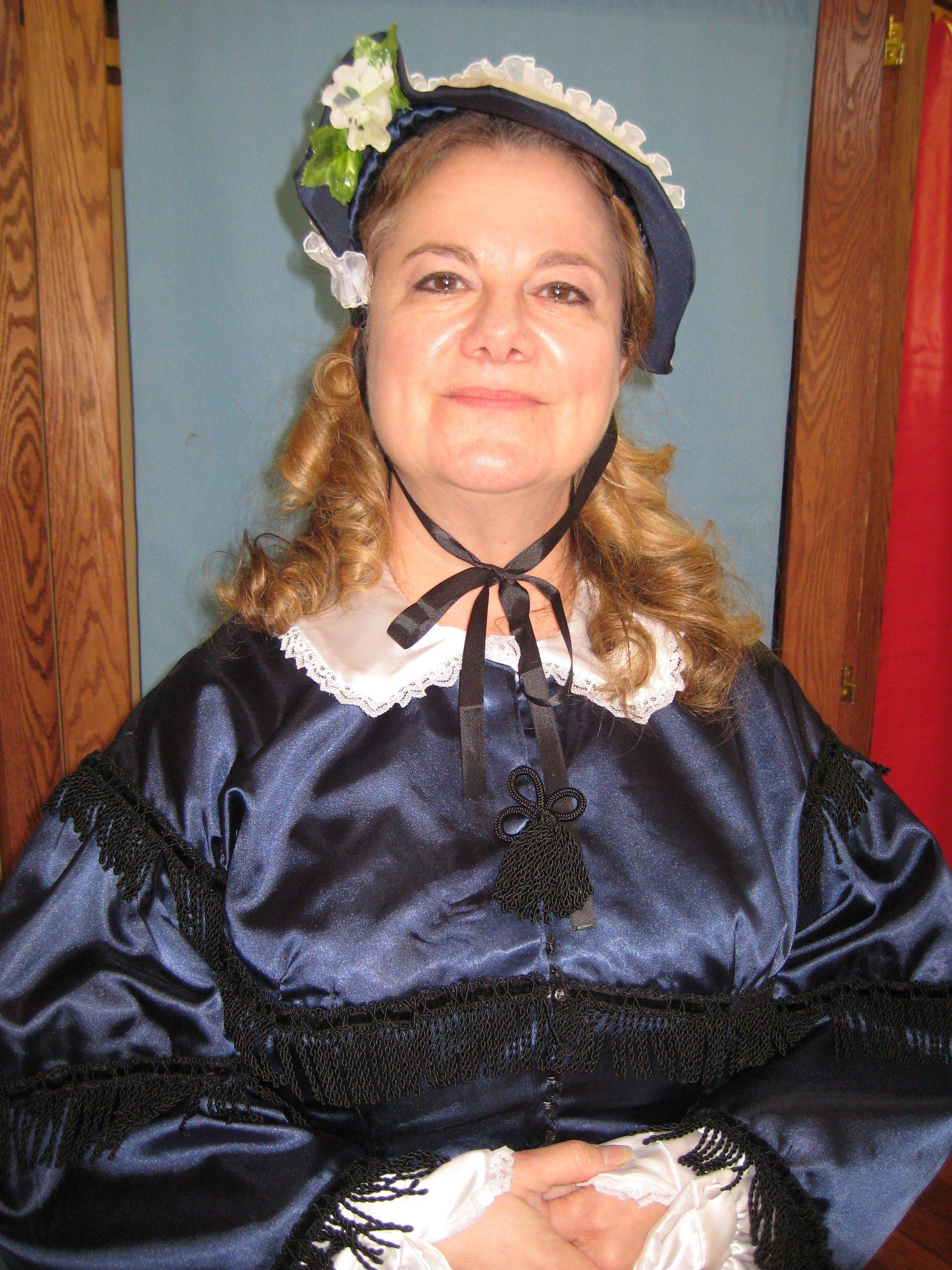 "Paddy Lynn portrays abolitionist Harriet Beecher Stowe, author of the best-selling ""Uncle Tom's Cabin."""