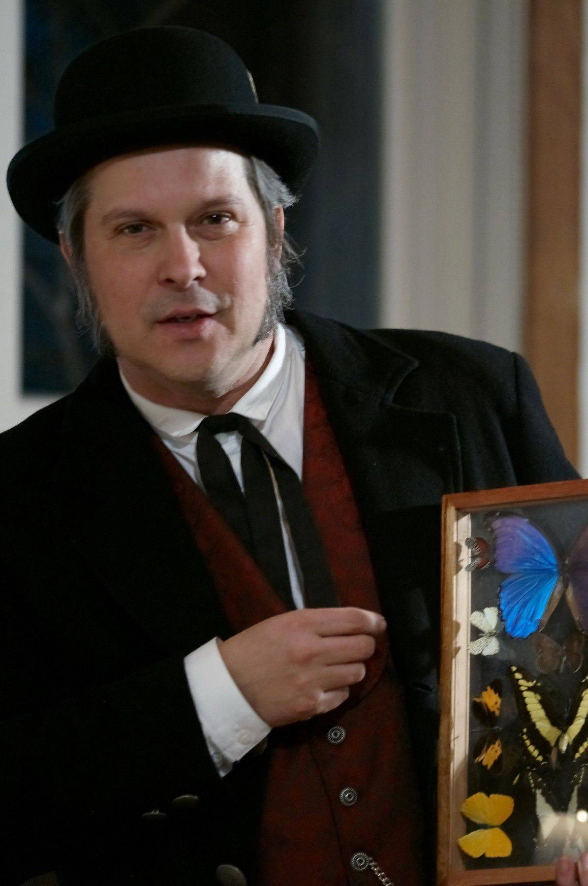"Actor Terry Lynch portrays a young Charles Darwin in ""Charles Darwin and the Voyage of the Beagle."""