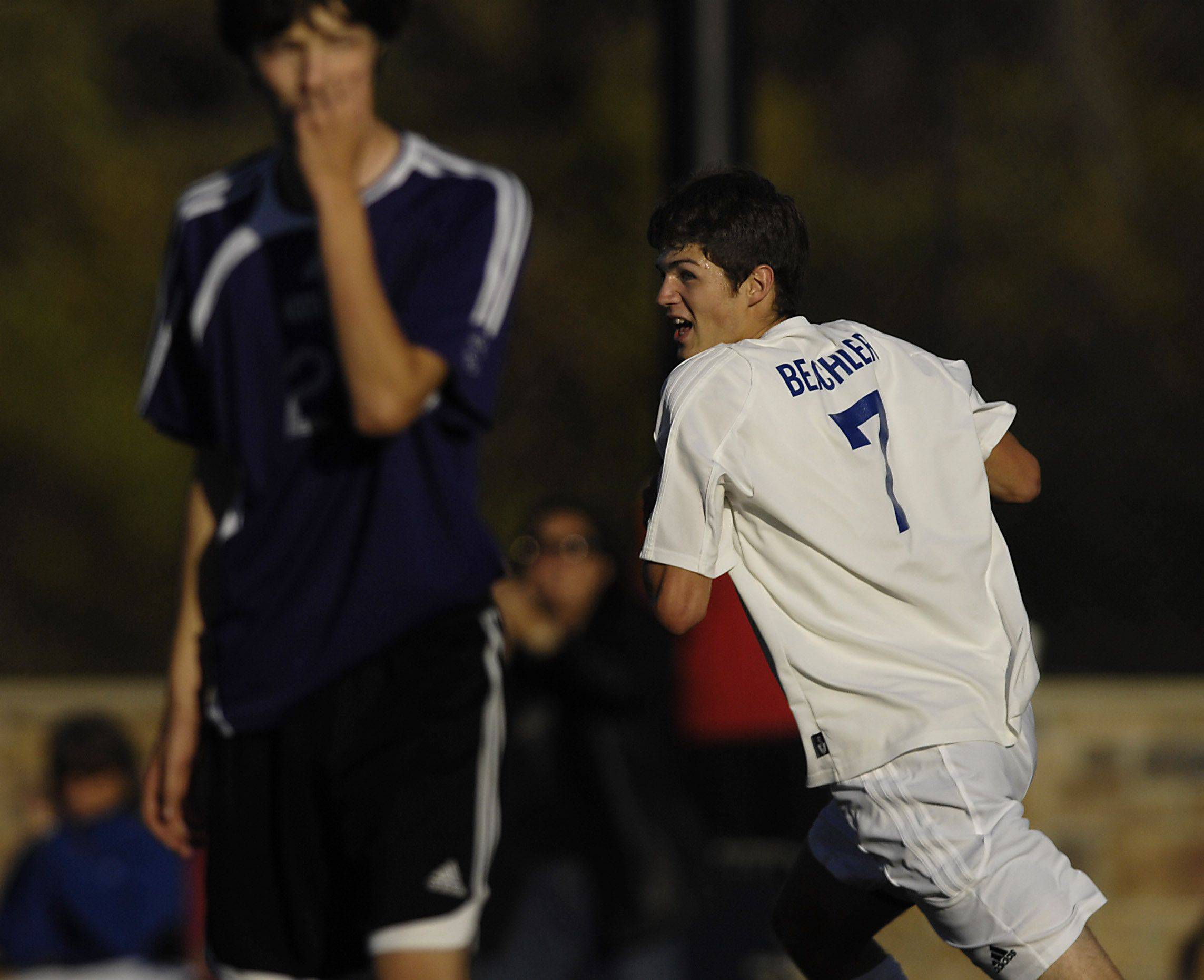 Westminster Christian's Josh Beachler turns and looks for teammates after scoring the first goal against North Shore Country Day for the Class 1A regional championship Tuesday in Elgin.