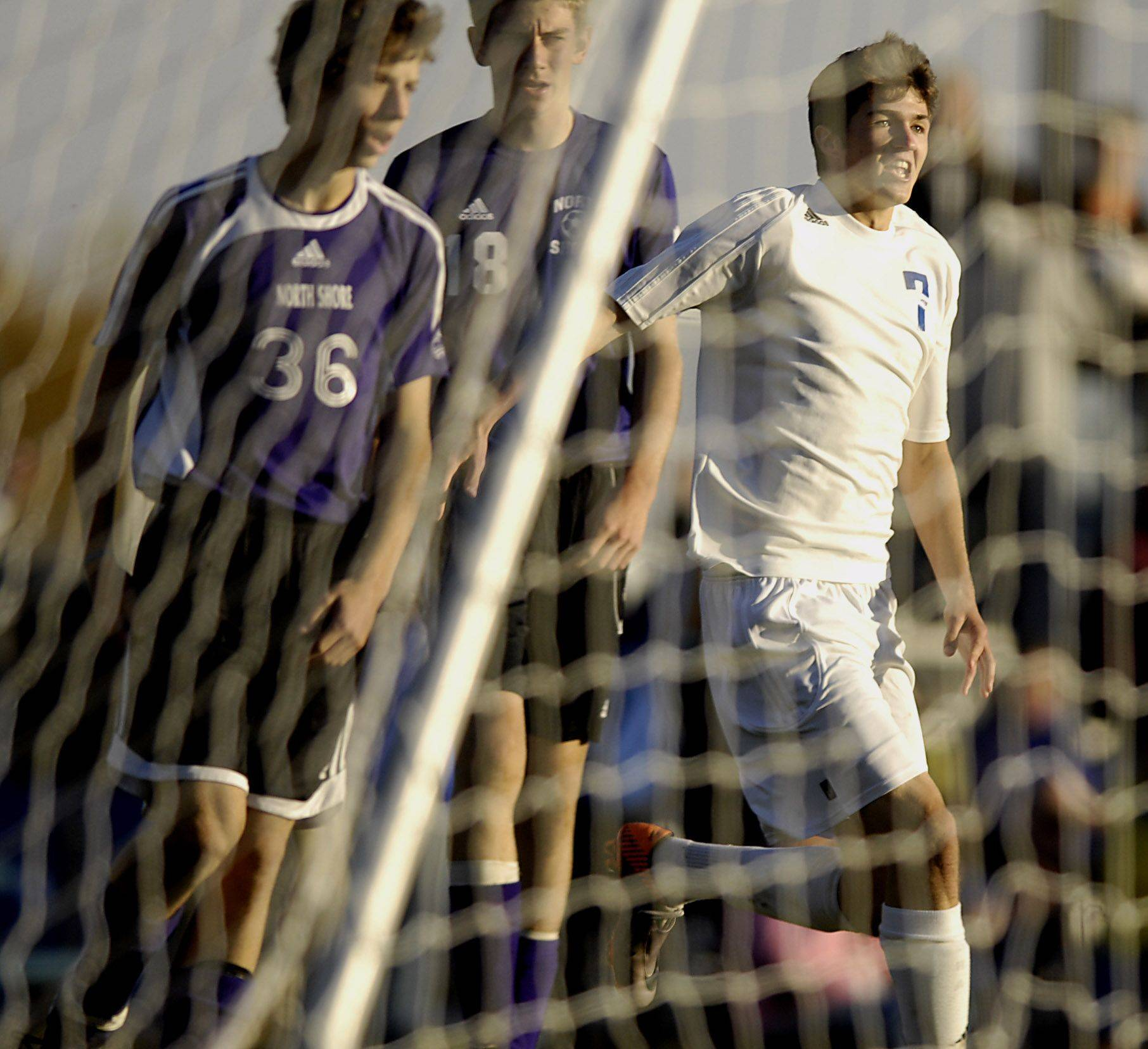 Westminster Christian's Josh Beachler looks for teammates after the second goal against North Shore Country Day for the Class 1A regional championship Tuesday in Elgin.