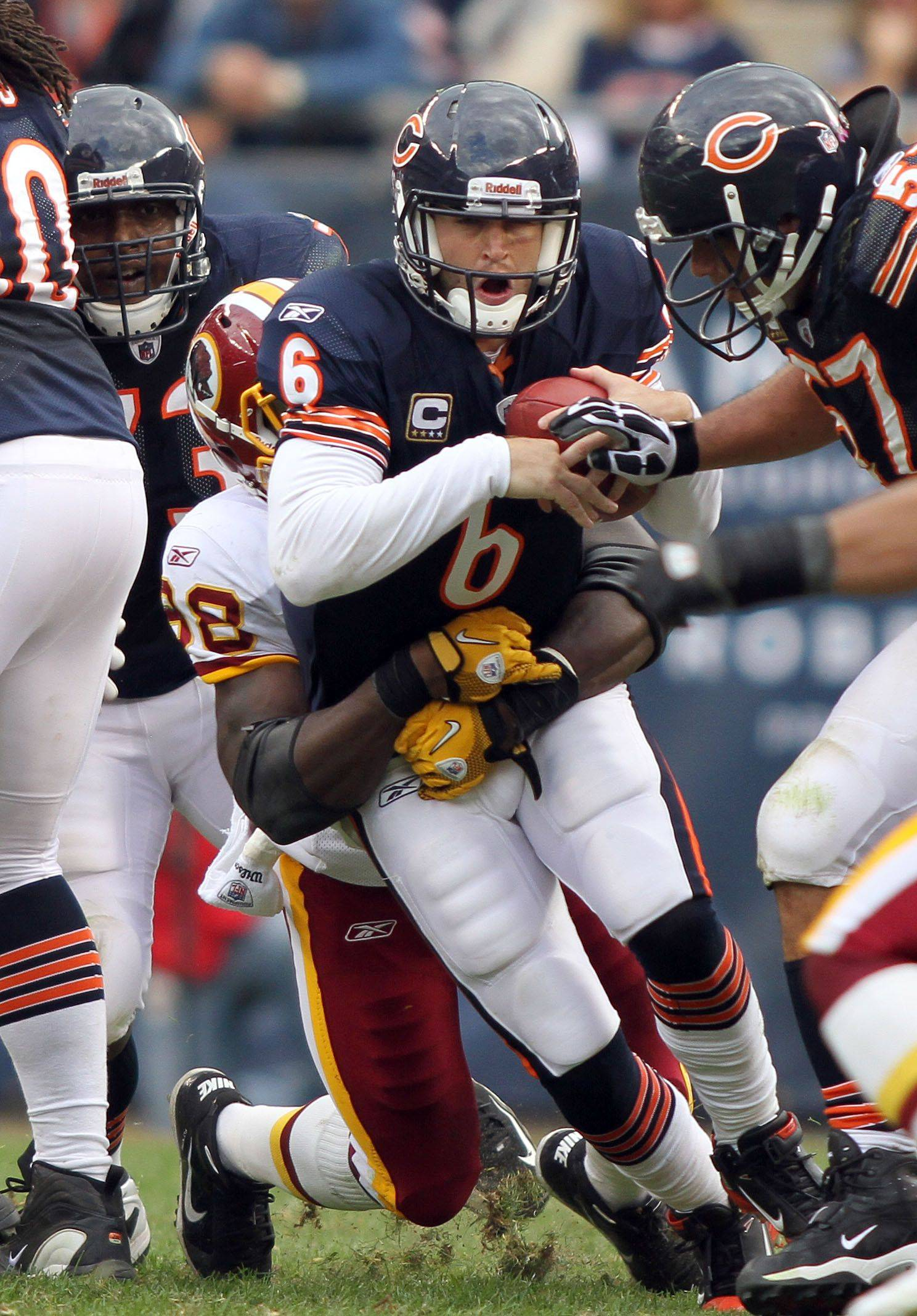 Chicago Bears quarterback Jay Cutler is sacked by Washington Redskins linebacker Brian Orakpo during the Bears' 14-17 loss to the Redskins.