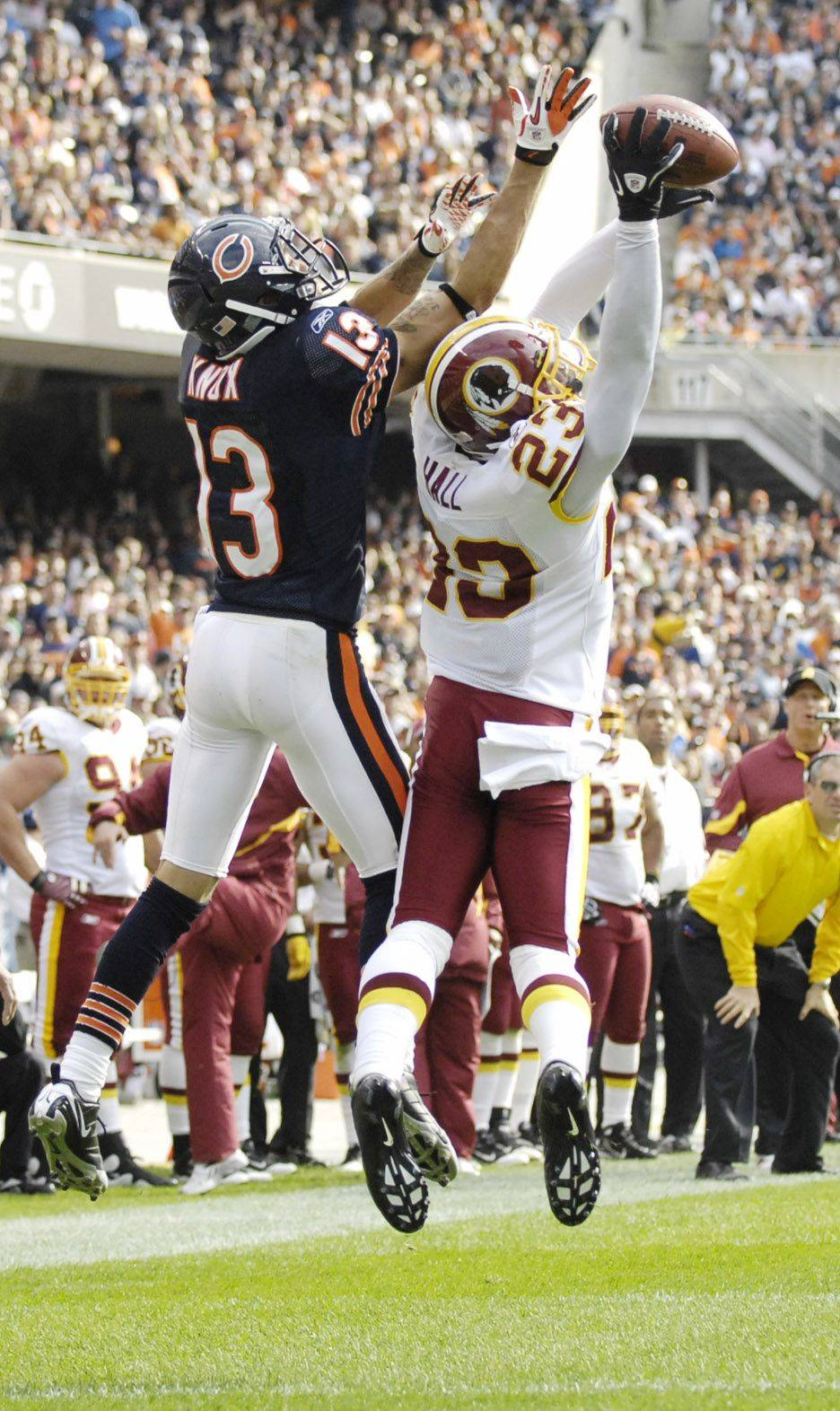 Washington Redskins cornerback DeAngelo Hall intercepts a Jay Cutler pass intended for Chicago Bears wide receiver Johnny Knox.