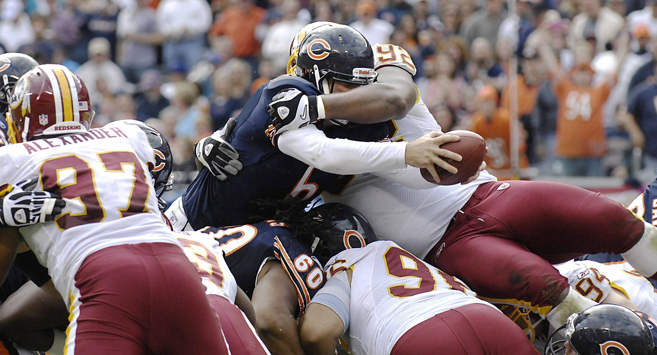 Chicago Bears quarterback Jay Cutler stretches the ball toward the goal line on a second and one play in the third quarter. He fumbled the ball to the Washington Redskins.