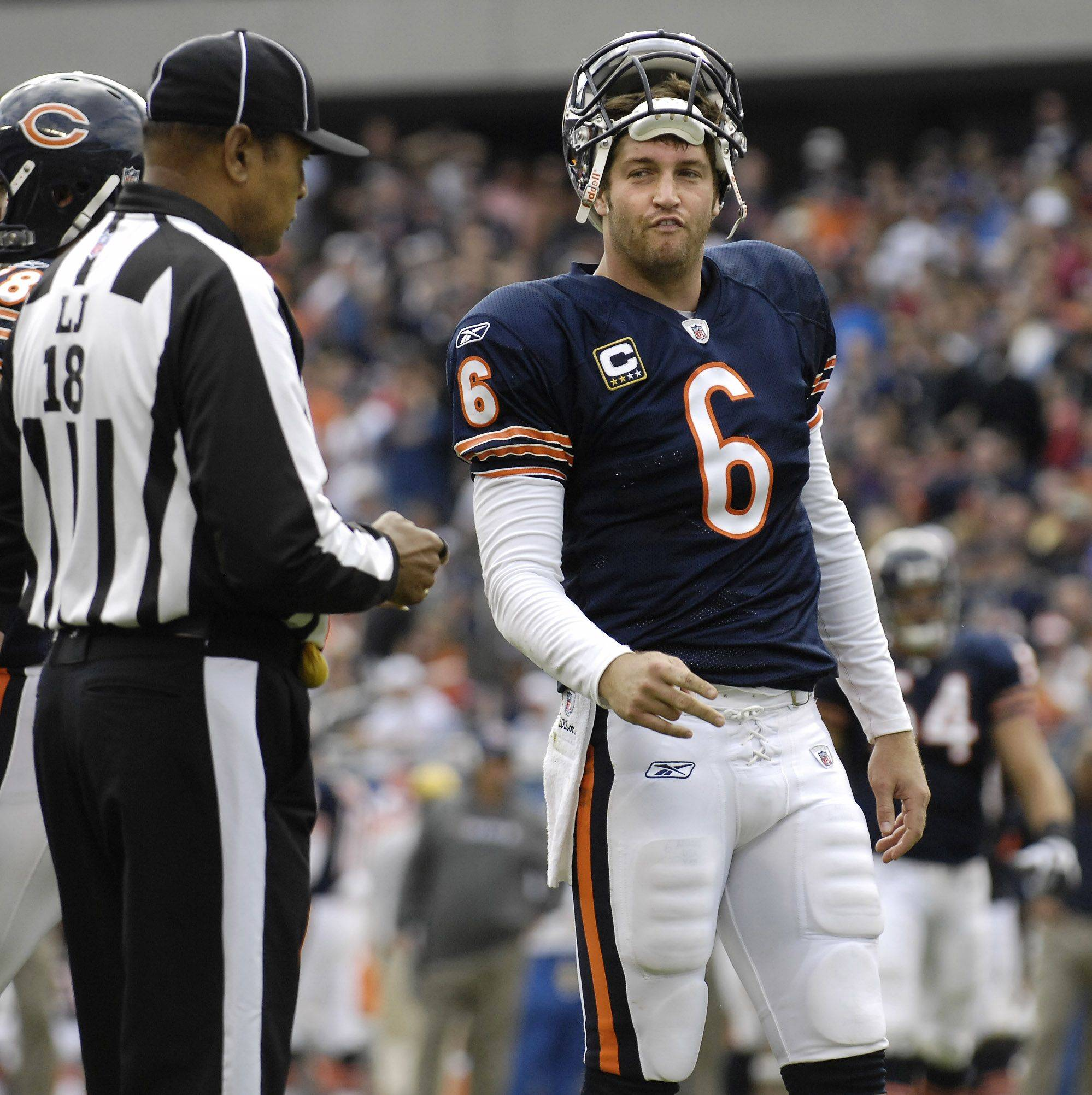 Jay Cutler has words with the line judge after it was ruled he fumbled the ball to the Washington Redskins on the goal line in the third quarter.