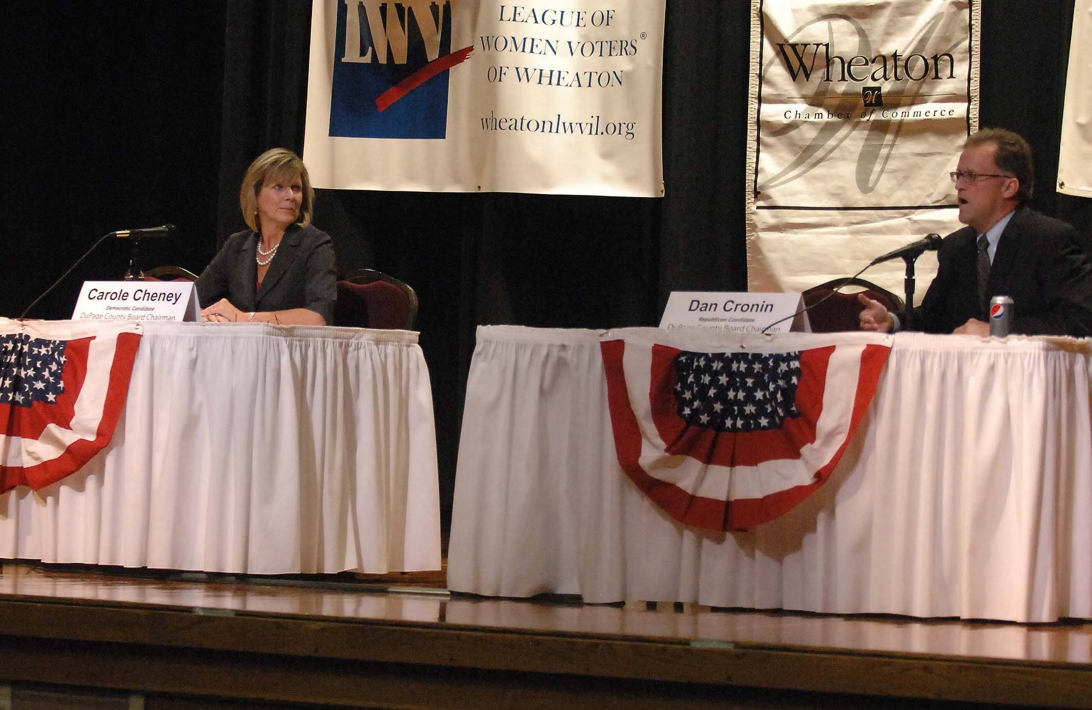 Candidates for DuPage County Board chairman  Democrat Carole Cheney and Republican Dan Cronin  participate in a candidate forum organized by the League of Women Voters in Glen Ellyn and Wheaton and the Wheaton Chamber of Commerce.