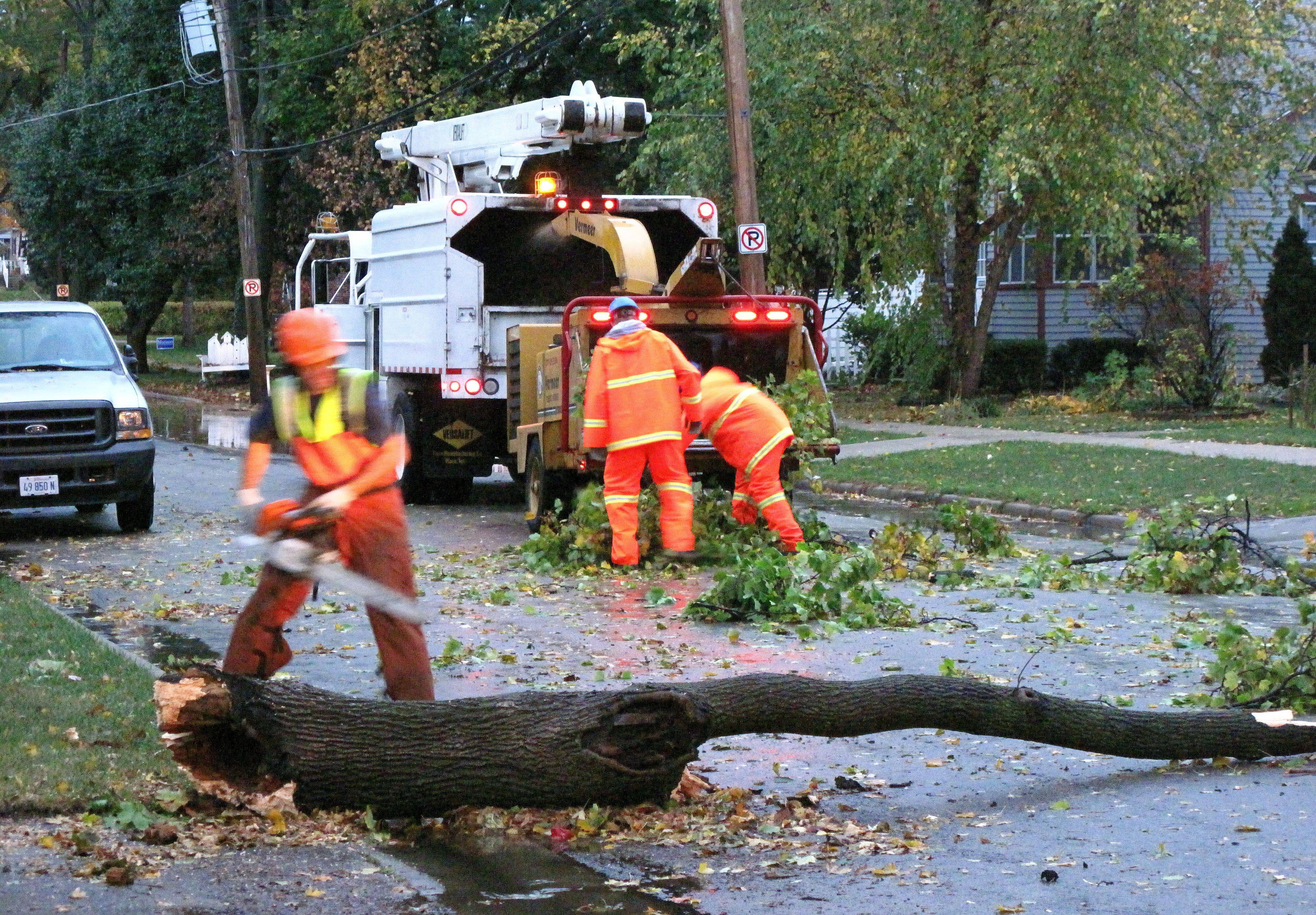 A crew removes a tree on North Edison Street in Elgin that caused a power outage in the area Tuesday morning.