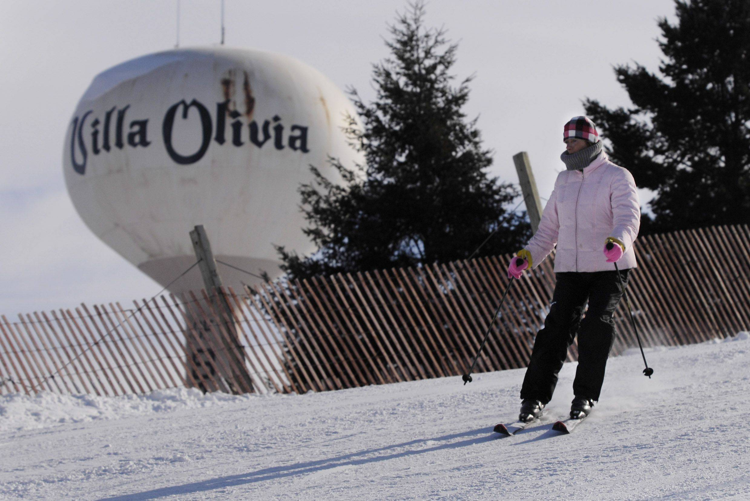 A skier makes her way down the run at Villa Olivia Country Club, which the Bartlett Park District plans to purchase if voters next week approve an $18 million bond issue.