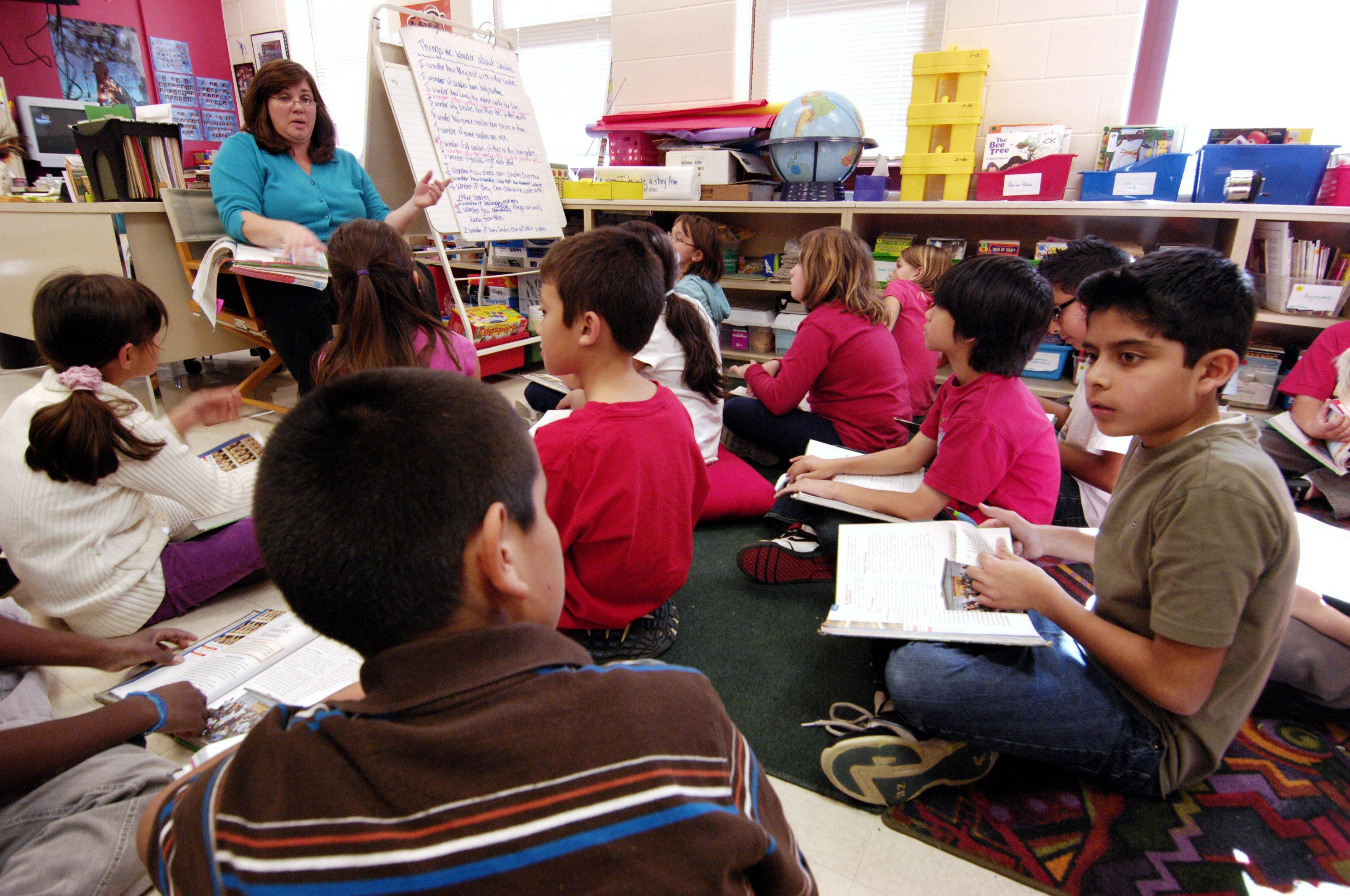 Fourth-grade teacher Paula Amota teaches a class at Timber Trails Elementary School, which was able to get a passing grade from the state because of the improved performance of students with limited English skills.