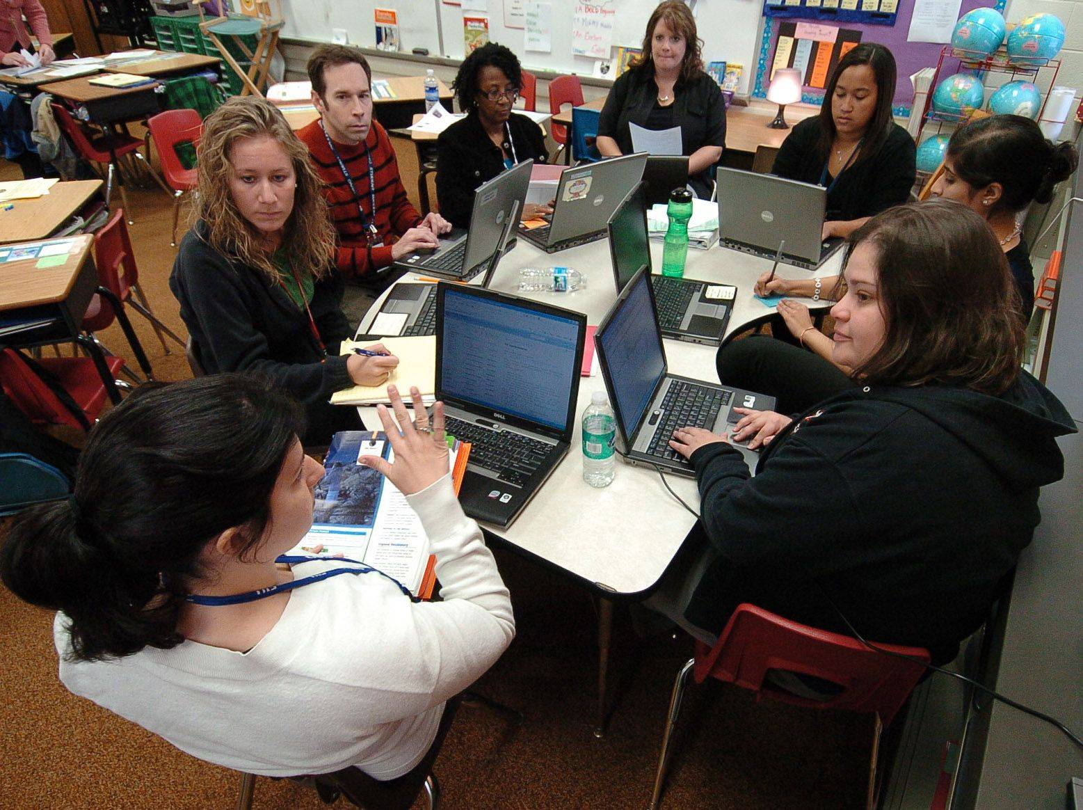 "Third-grade teachers gather together for their ""Professional Learning Community"" brainstorming session at Lakeview Elementary School in Hoffman Estates."