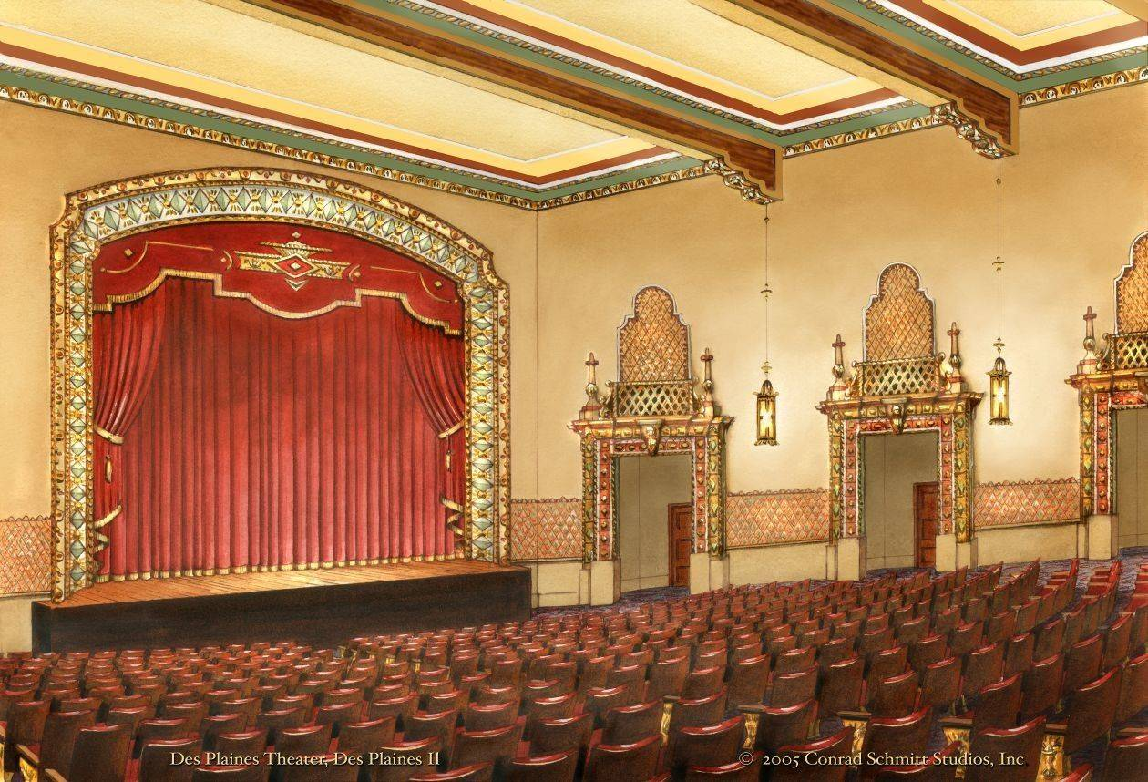 This 2005 rendering shows what the Des Plaines Theatre might look like fully restored.