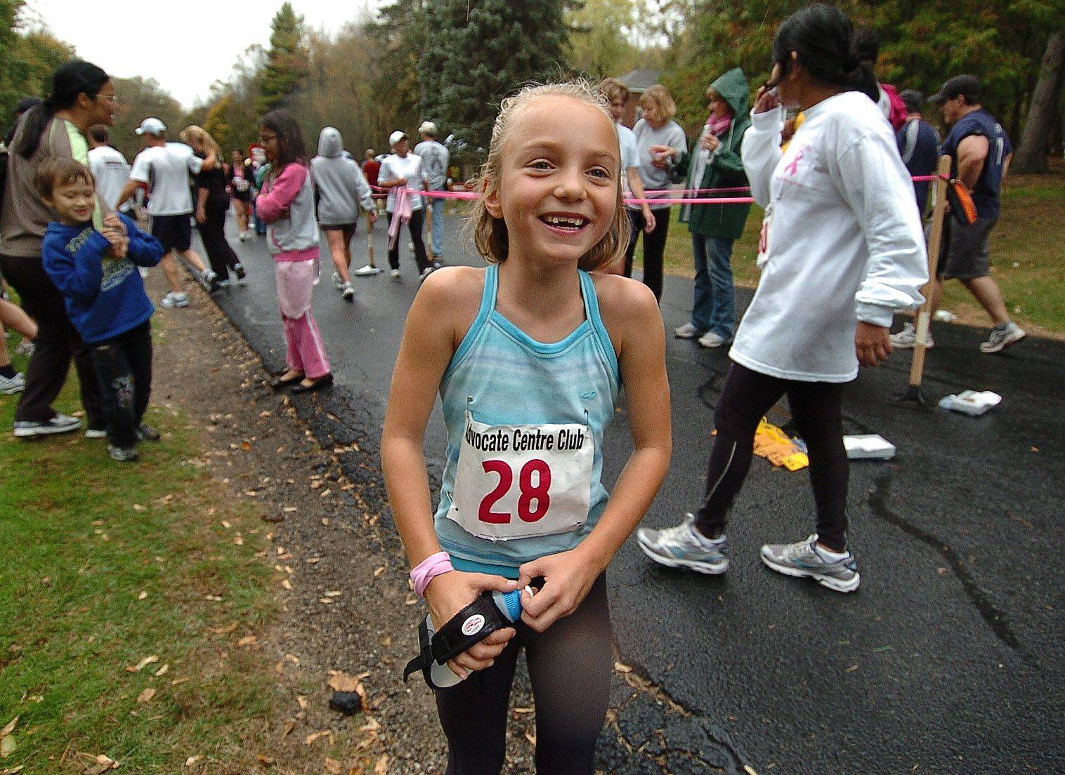 7-year-old Sydney Boudreau of Mundelein donated $50.50 in honor of a family friend who is a breast cancer survivor, to run in the first-ever Advocate Condell Centre Club Pink Ribbon run at St. Mary of the Lake Seminary in Mundelein.