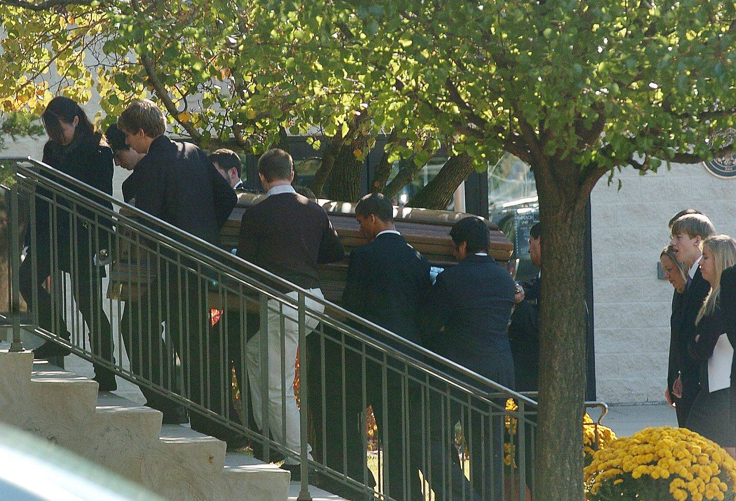 The body of Declan Sullivan is carried into St. Mary Catholic Church in Buffalo Grove for a funeral Mass.
