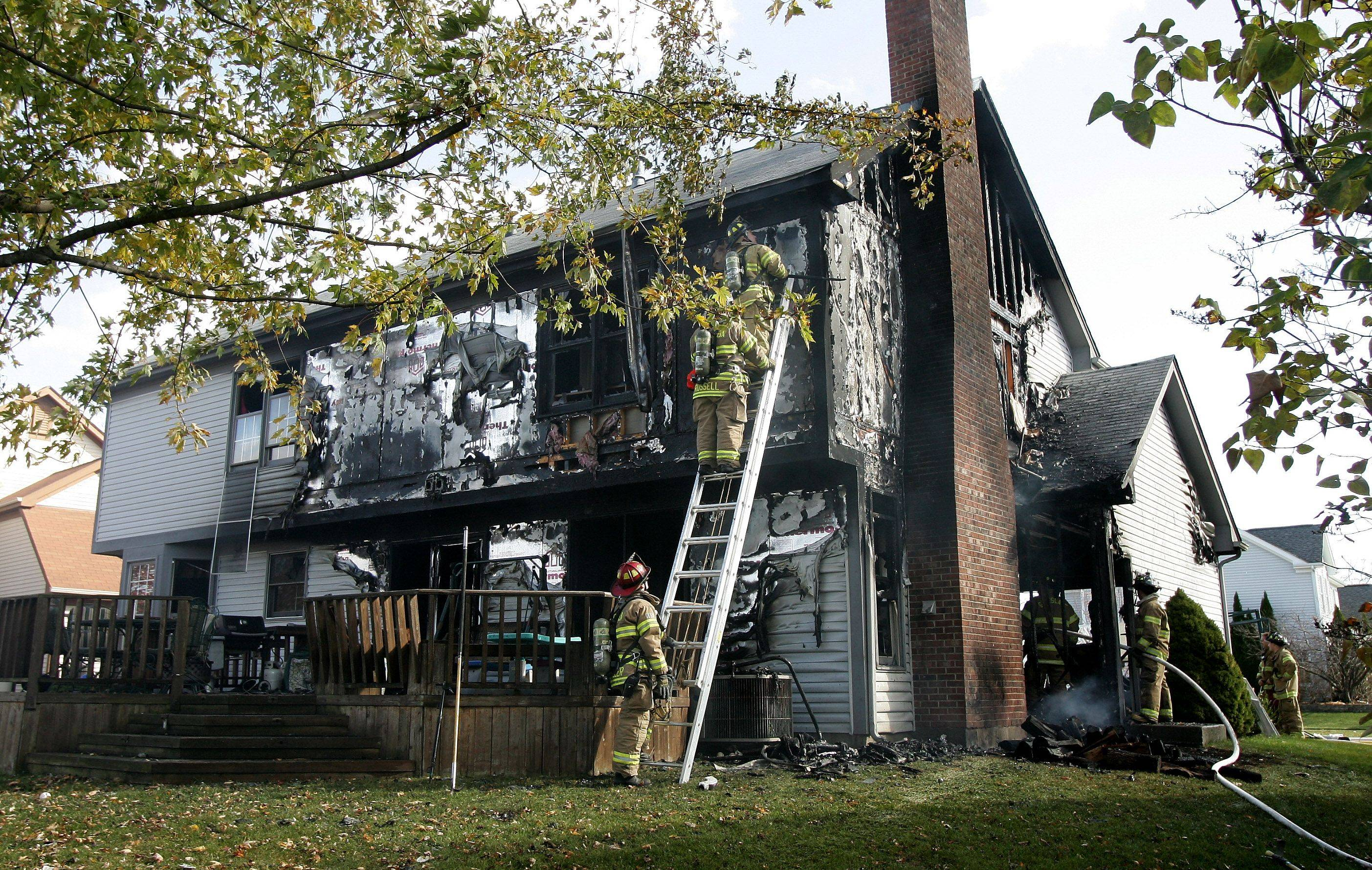 A home was destroyed by a fire Monday in the 300 block of Banbury Lane in Grayslake. Fire departments from as far away as Waukegan and Fox Lake were called to the scene.